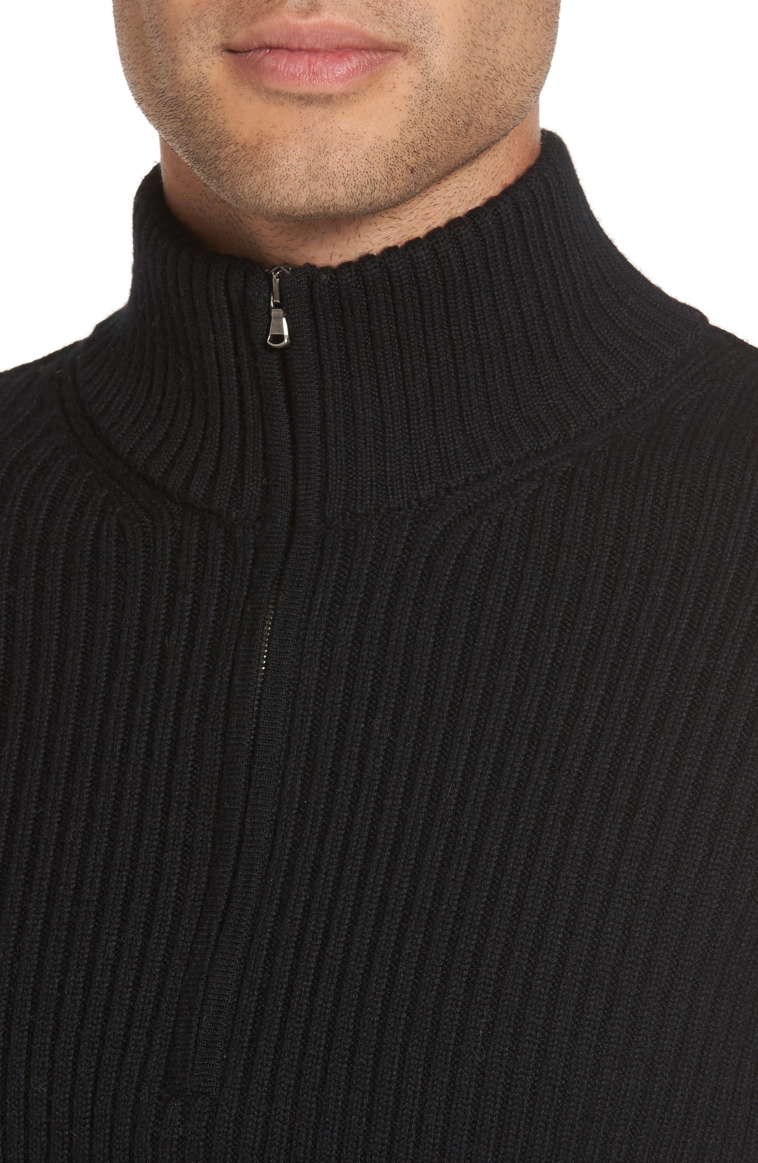 Ribbed Quarter Zip Mock Neck Sweater,                             Alternate thumbnail 4, color,                             Black