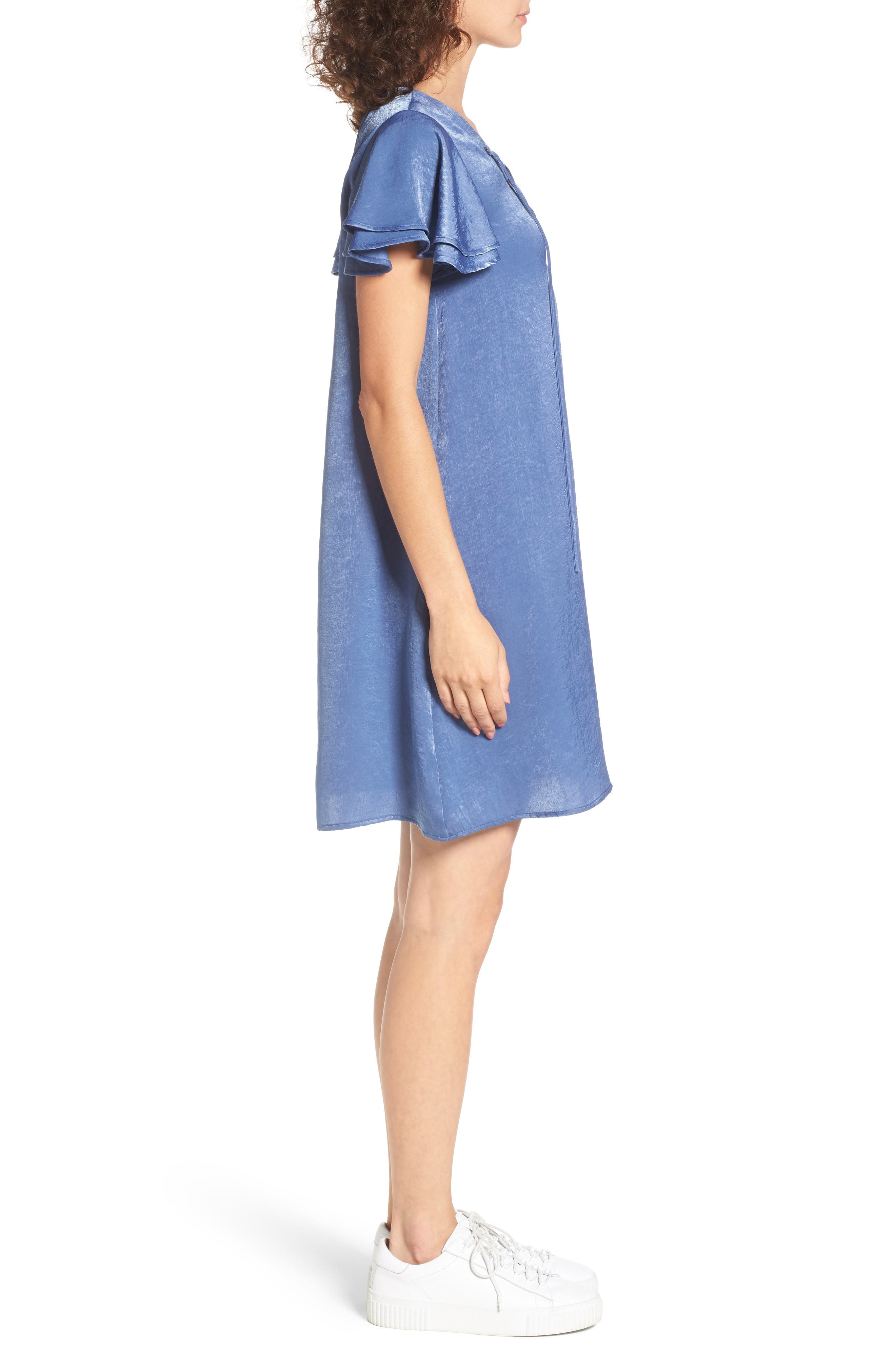 Lace-Up Shift Dress,                             Alternate thumbnail 3, color,                             Faded Denim