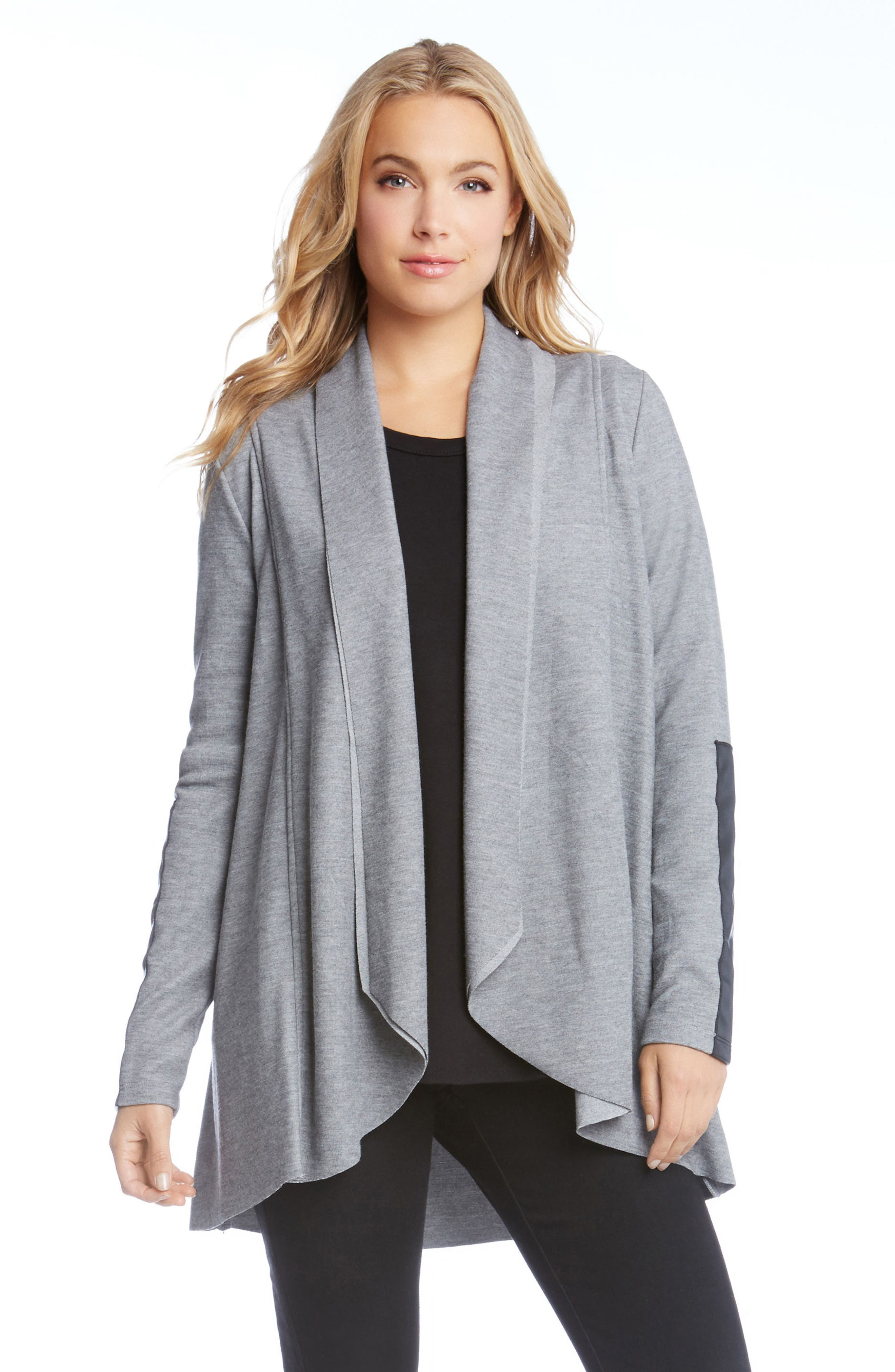 Alternate Image 3  - Karen Kane Faux Leather Trim Drape Cardigan