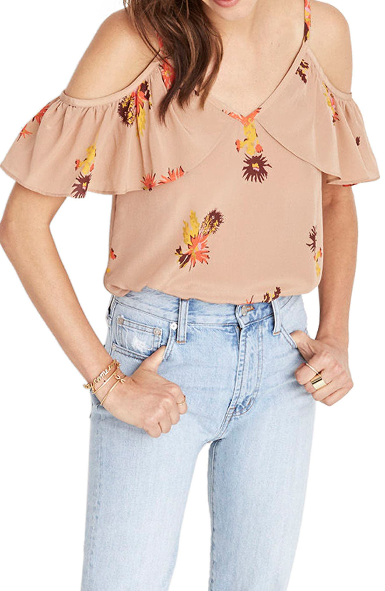 Madewell Cold Shoulder Silk Camisole
