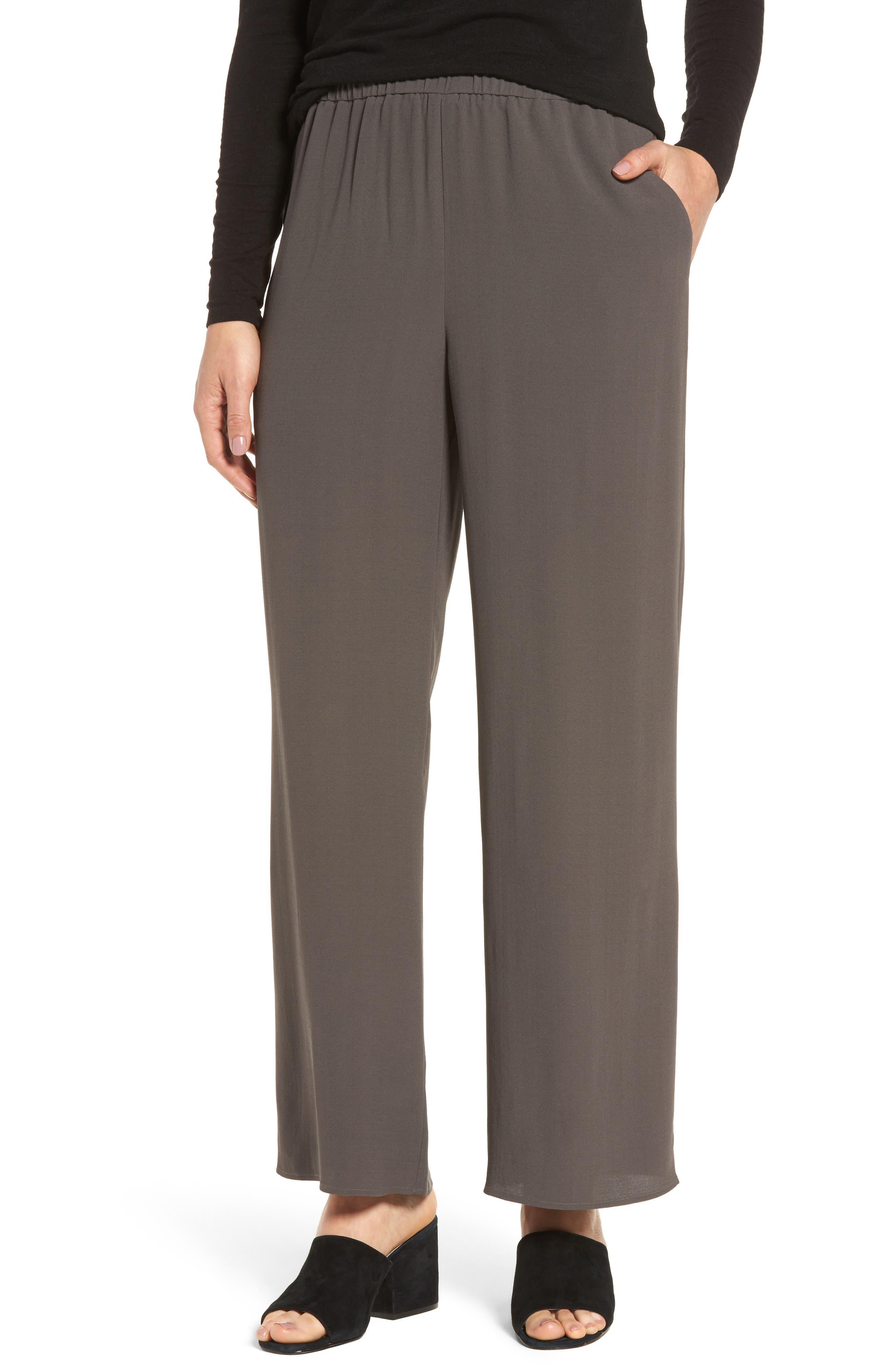 Eileen Fisher Wide Leg Silk Pants