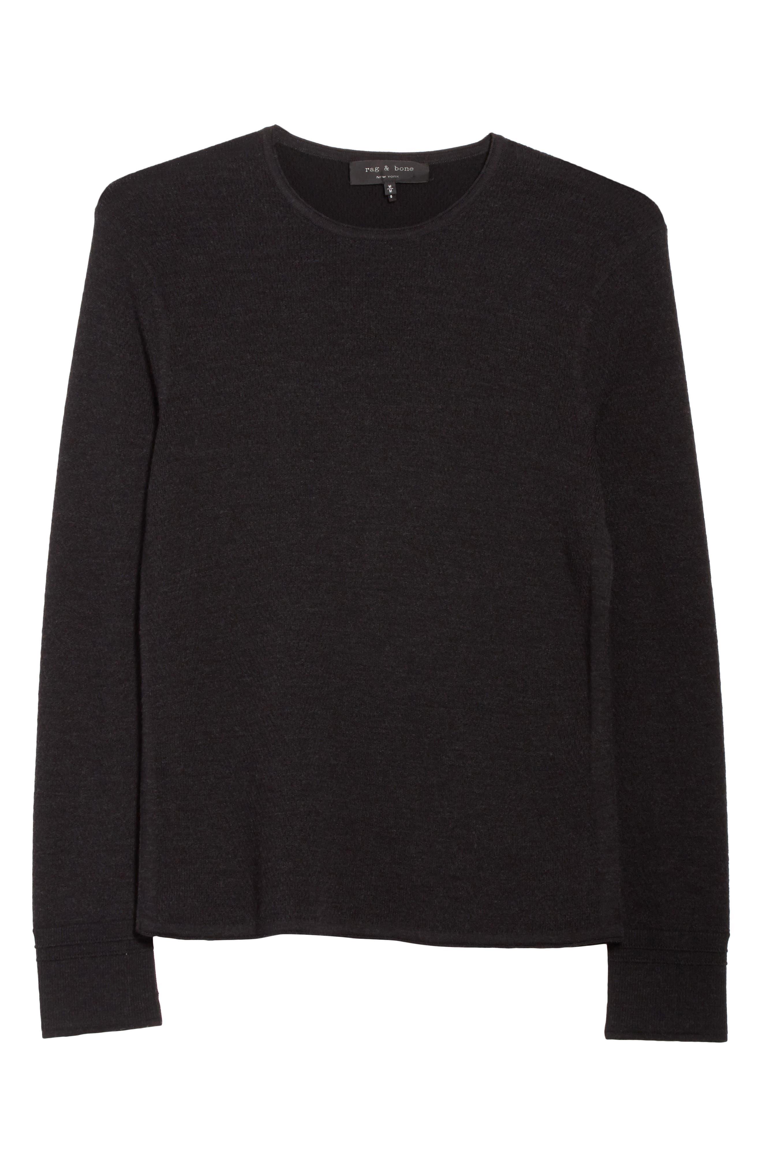 Gregory Crewneck Sweater,                             Alternate thumbnail 6, color,                             Black