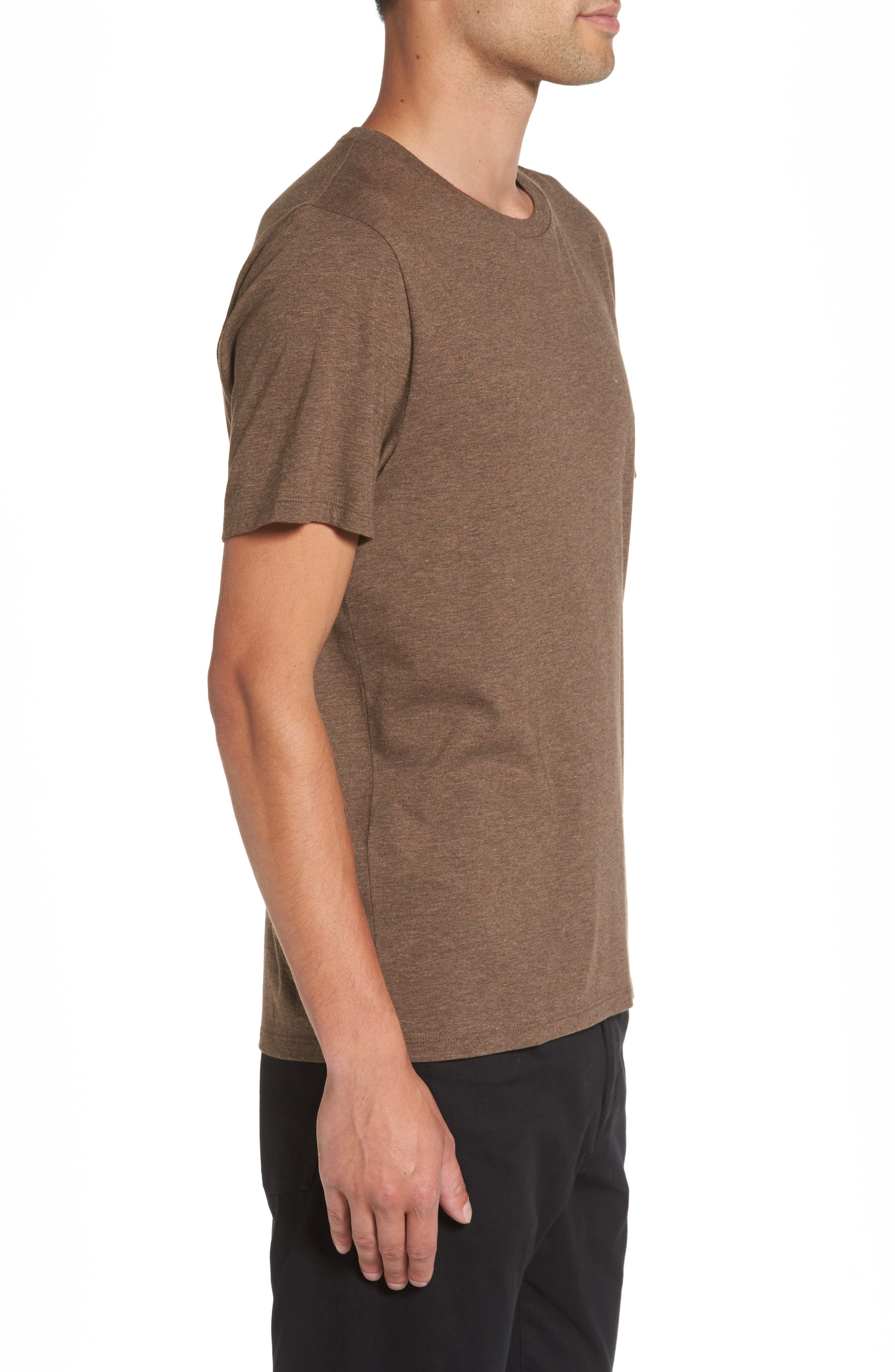 Regular Fit Crewneck T-Shirt,                             Alternate thumbnail 3, color,                             Bark