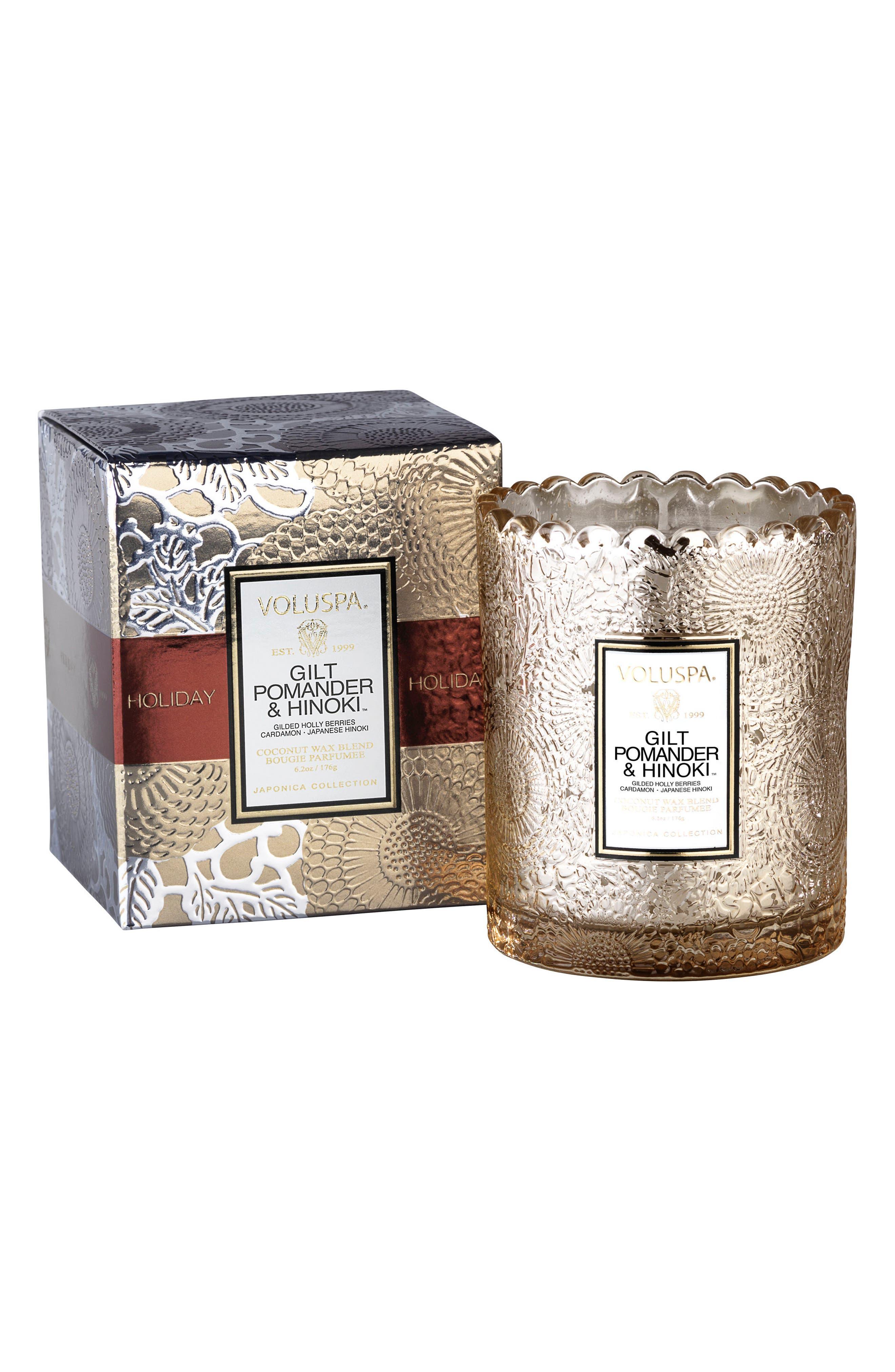 Alternate Image 1 Selected - Voluspa Gilt Pomander & Hinoki Boxed Candle