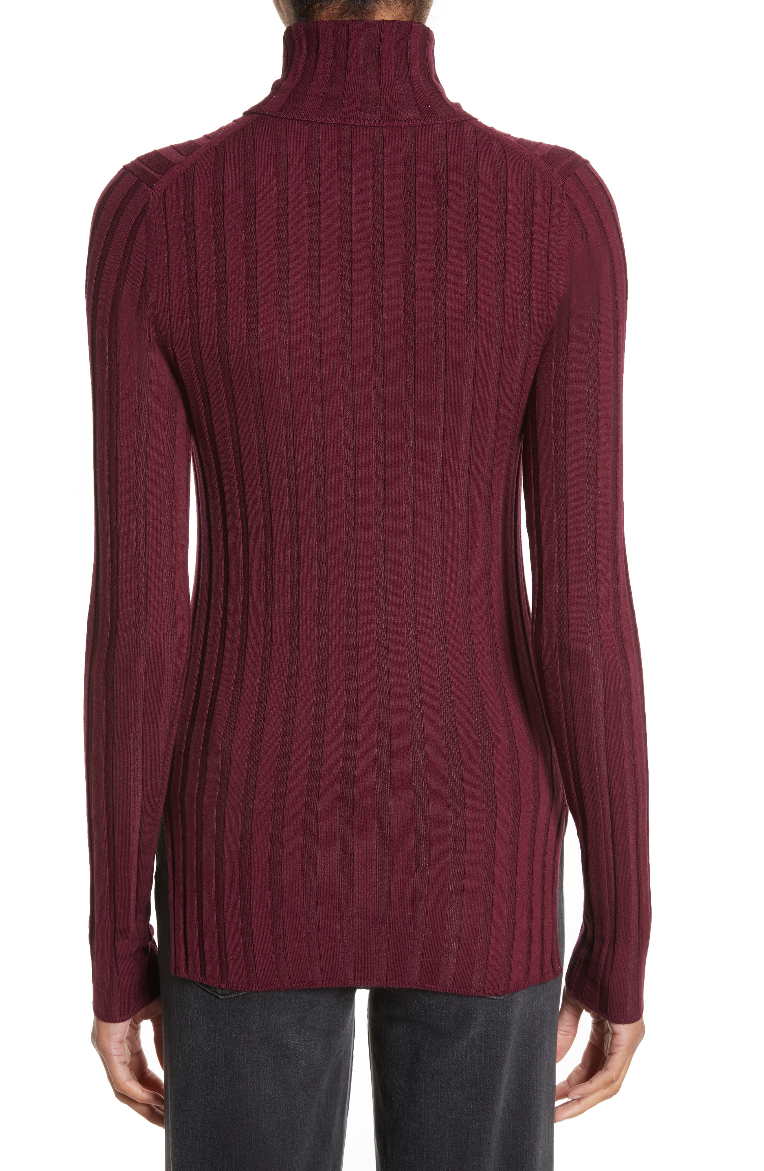 Corina Fitted Turtleneck Sweater,                             Alternate thumbnail 2, color,                             Burgundy