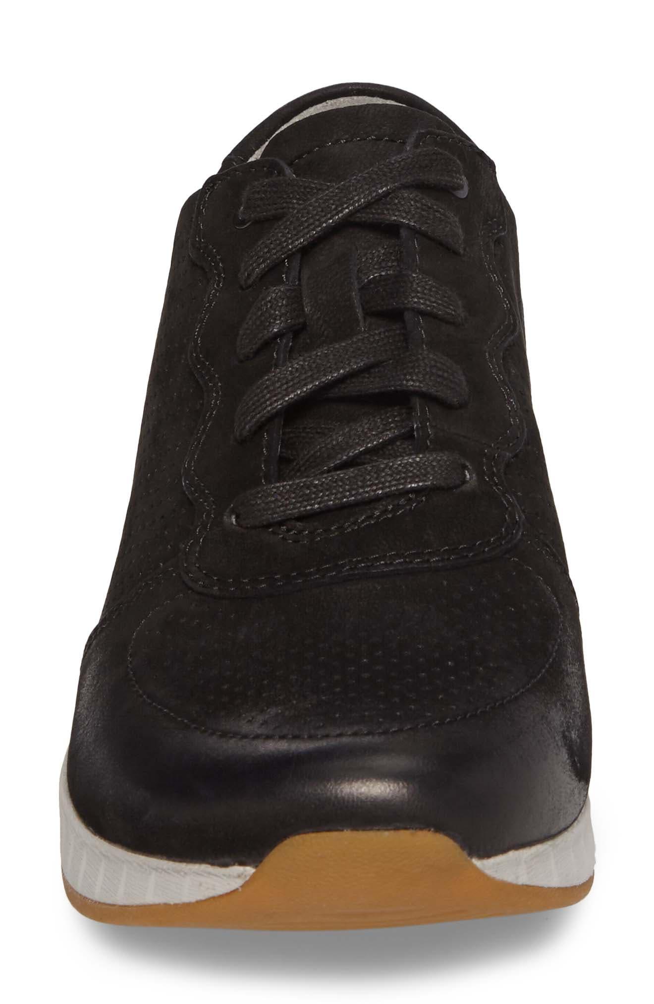 Christina Sneaker,                             Alternate thumbnail 4, color,                             Black Nubuck Leather