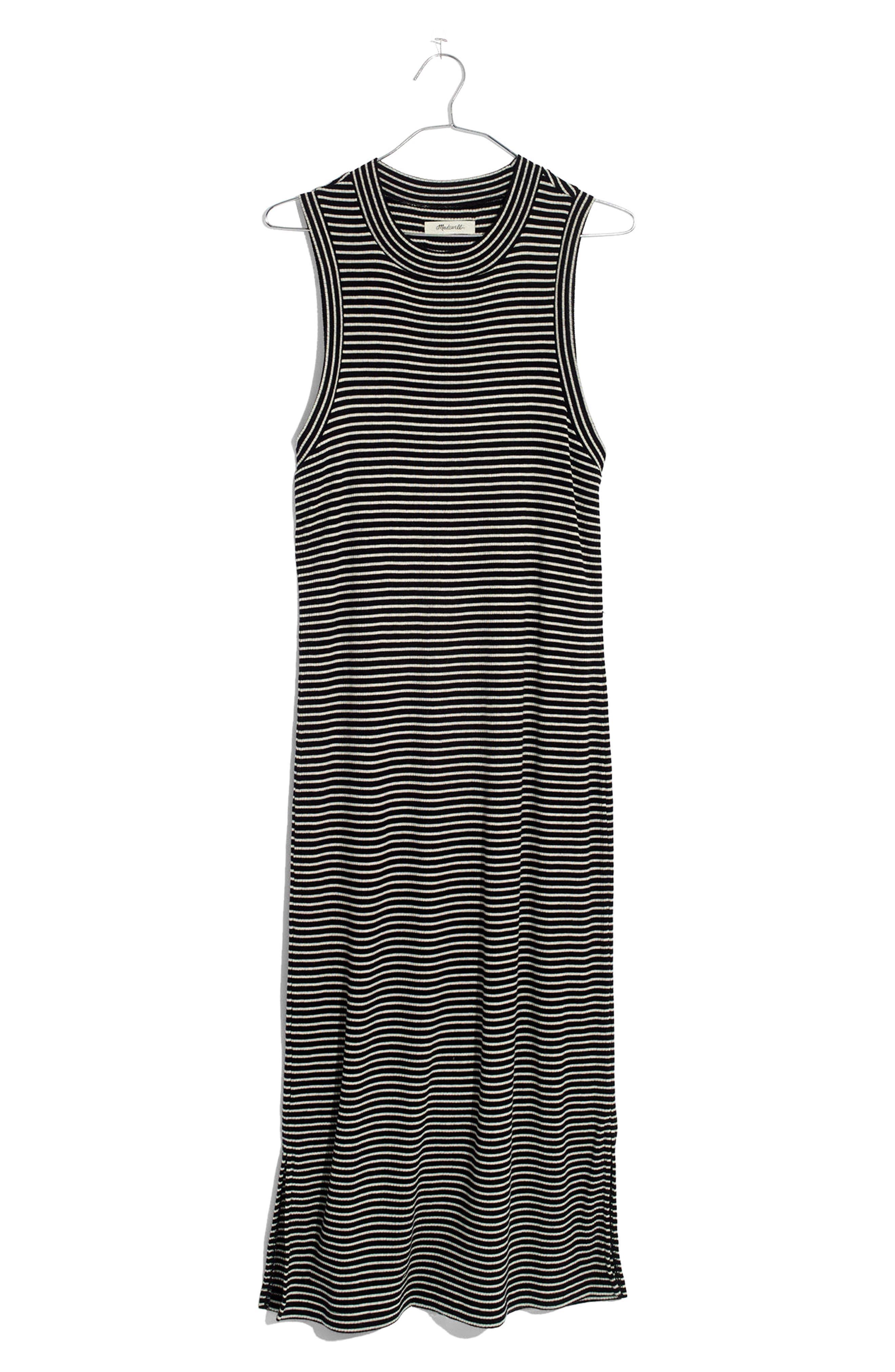 Ribbed Mock Neck Midi Dress,                             Alternate thumbnail 4, color,                             True Black