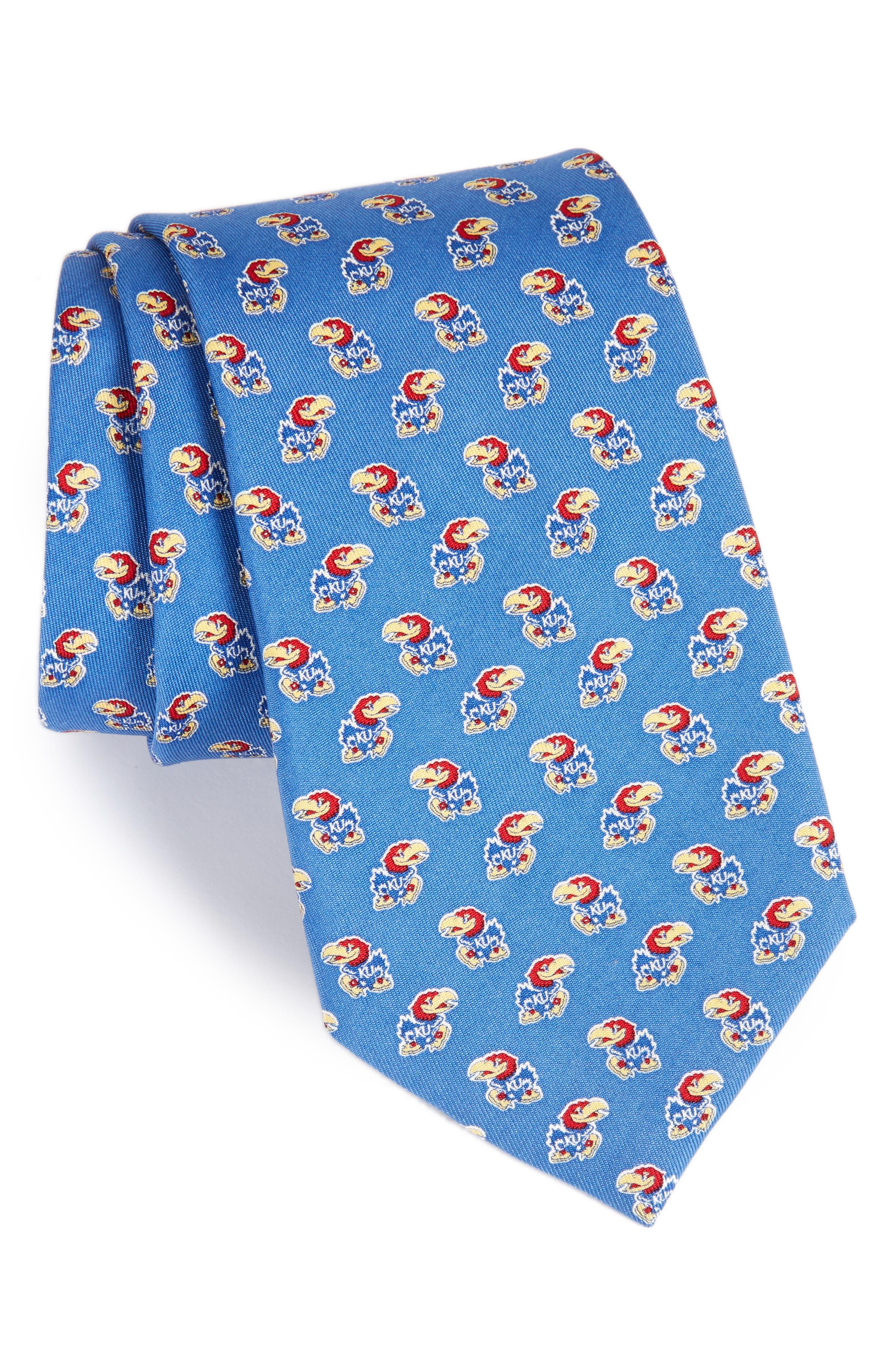 University of Kansas Silk Tie,                             Main thumbnail 1, color,                             Blue