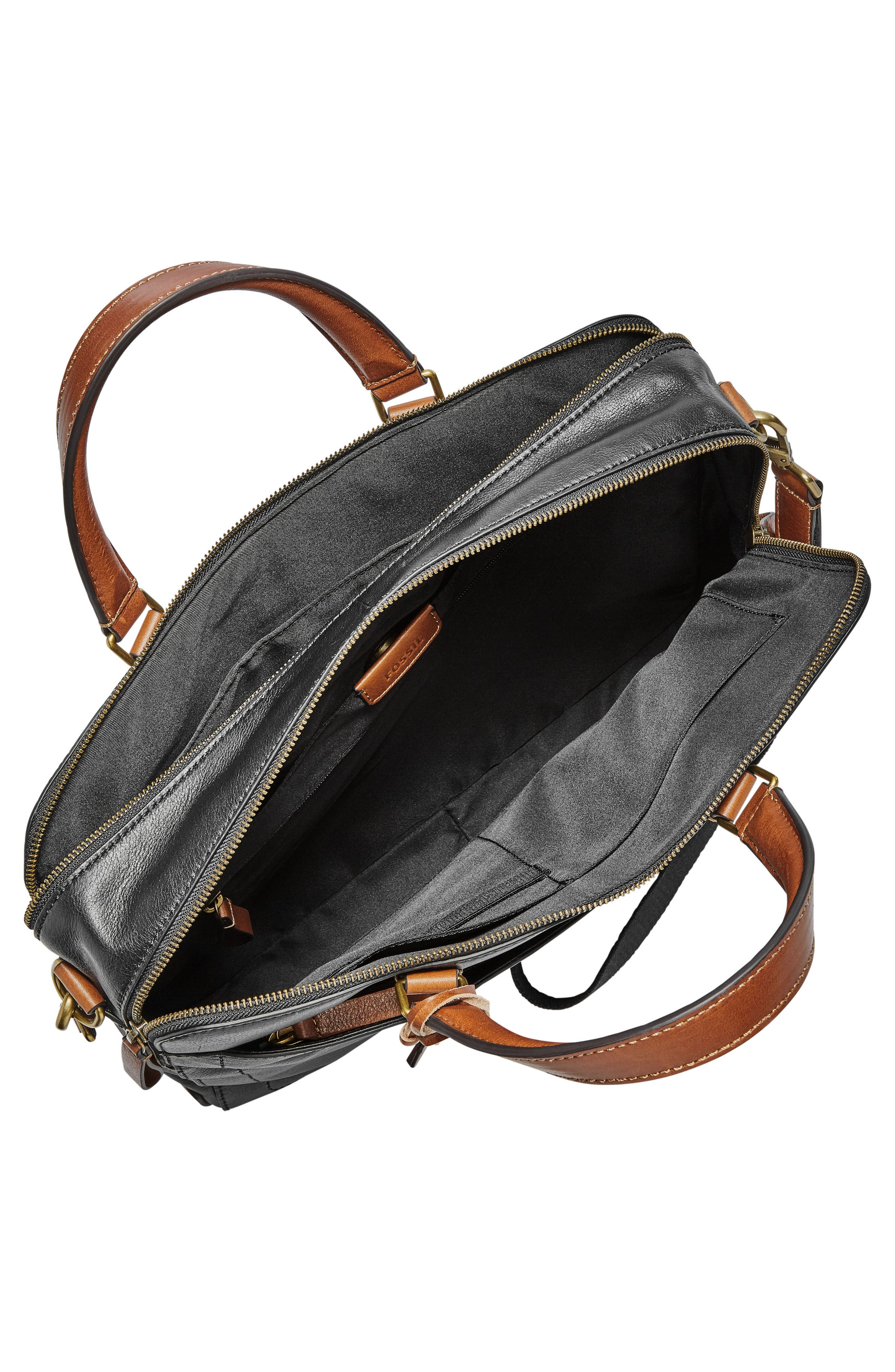 Defender Leather Briefcase,                             Alternate thumbnail 3, color,                             Black