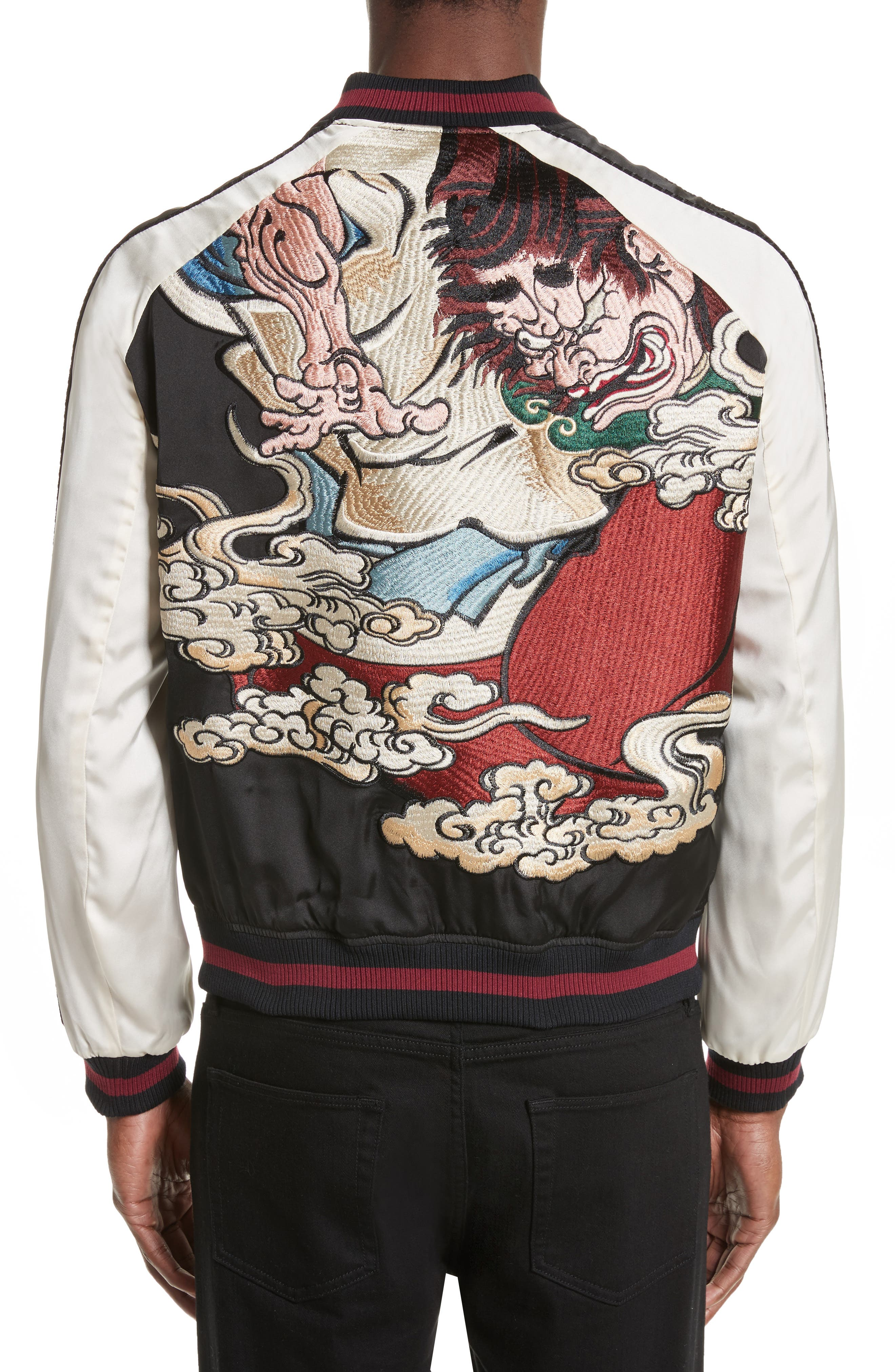 Alternate Image 2  - The Kooples Embroidered Two-Tone Bomber Jacket