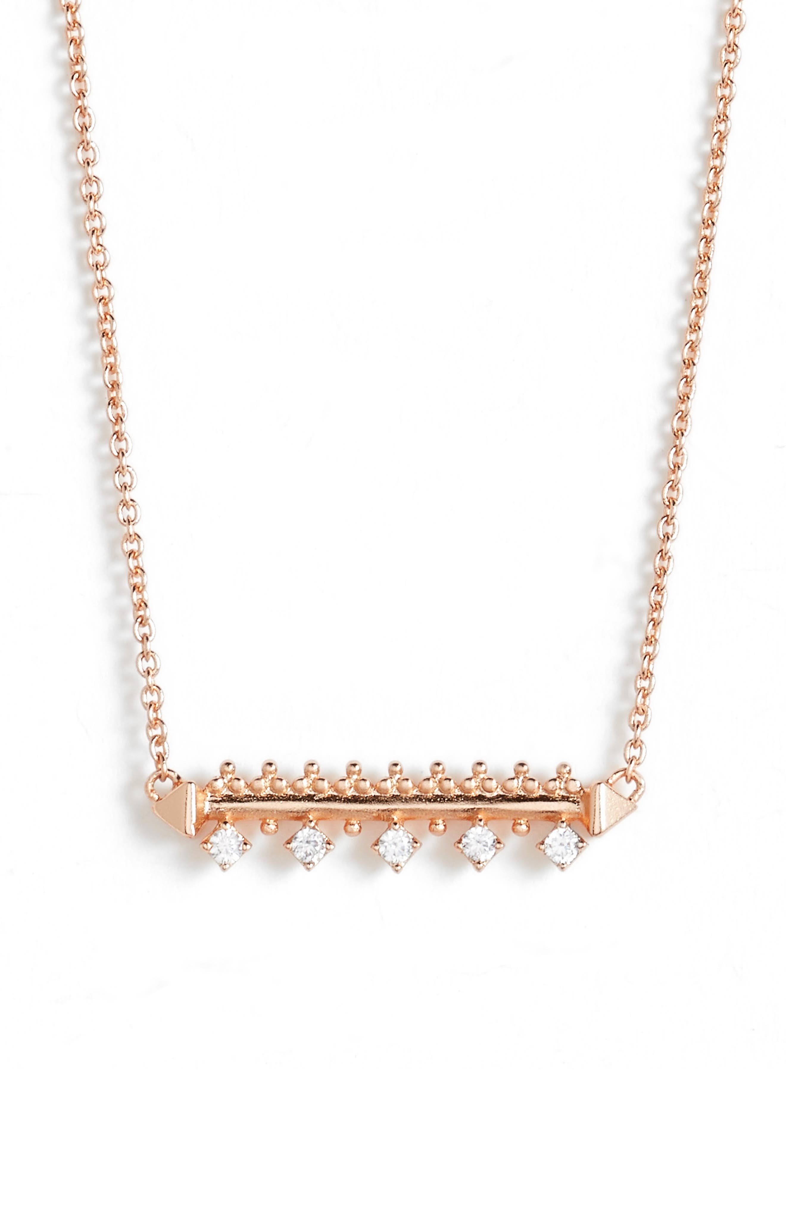 Anissa Bar Pendant Necklace,                             Alternate thumbnail 2, color,                             Rose Gold