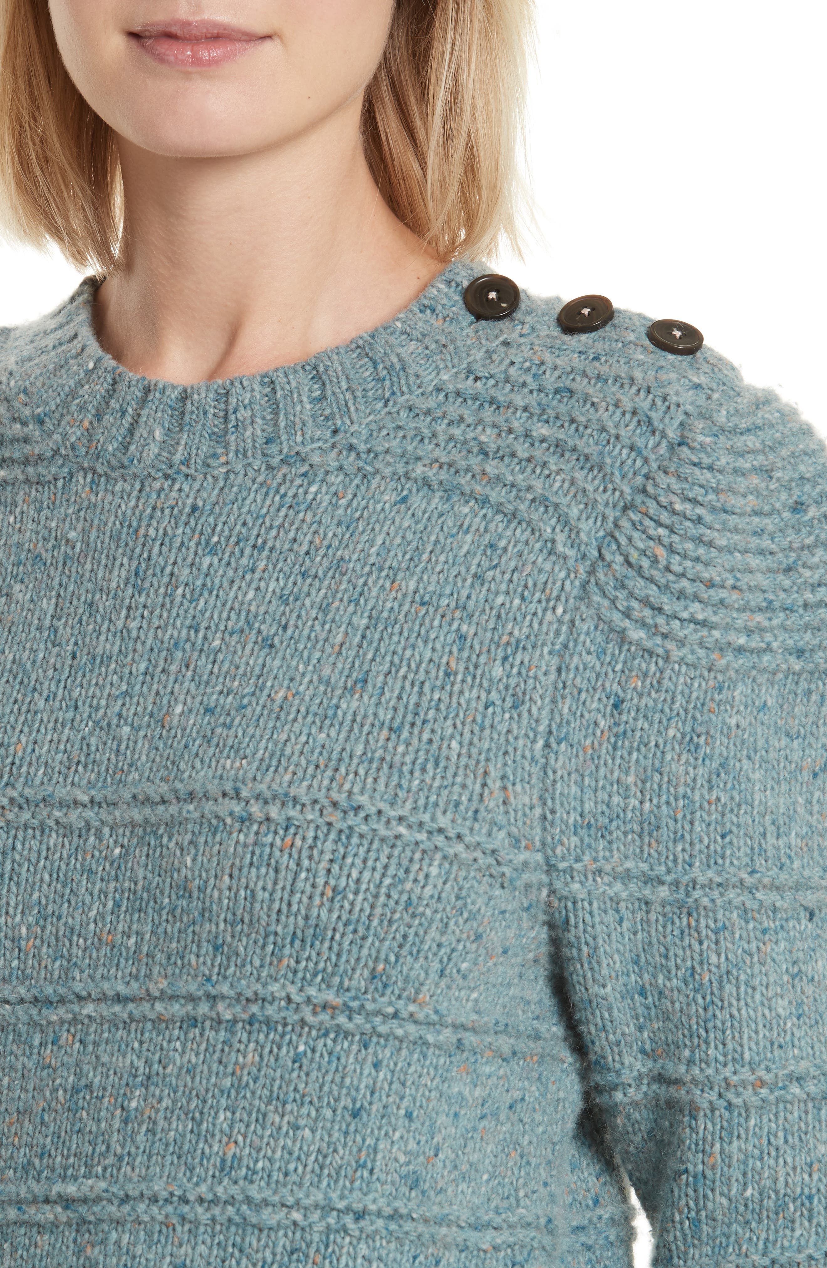 Donegal Tweed Pullover,                             Alternate thumbnail 4, color,                             Sea Mist