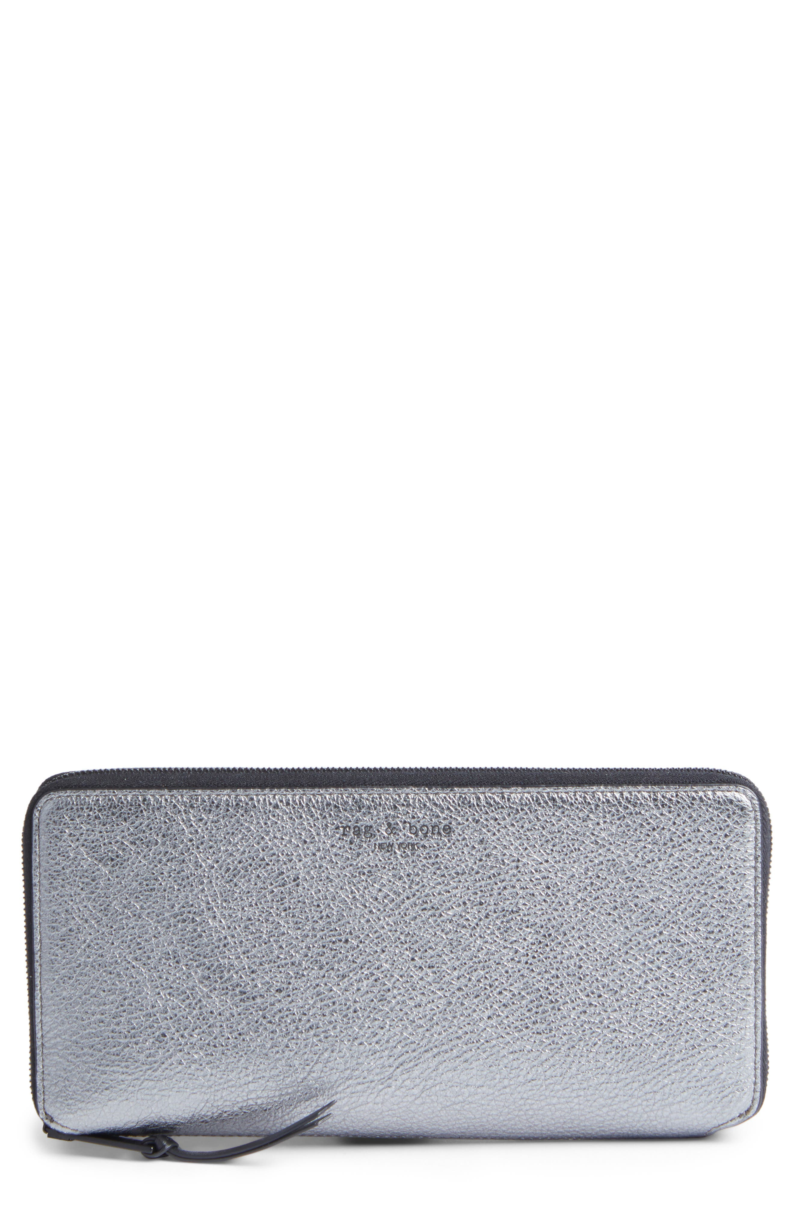 Main Image - rag & bone Metallic Leather Zip-Around Wallet
