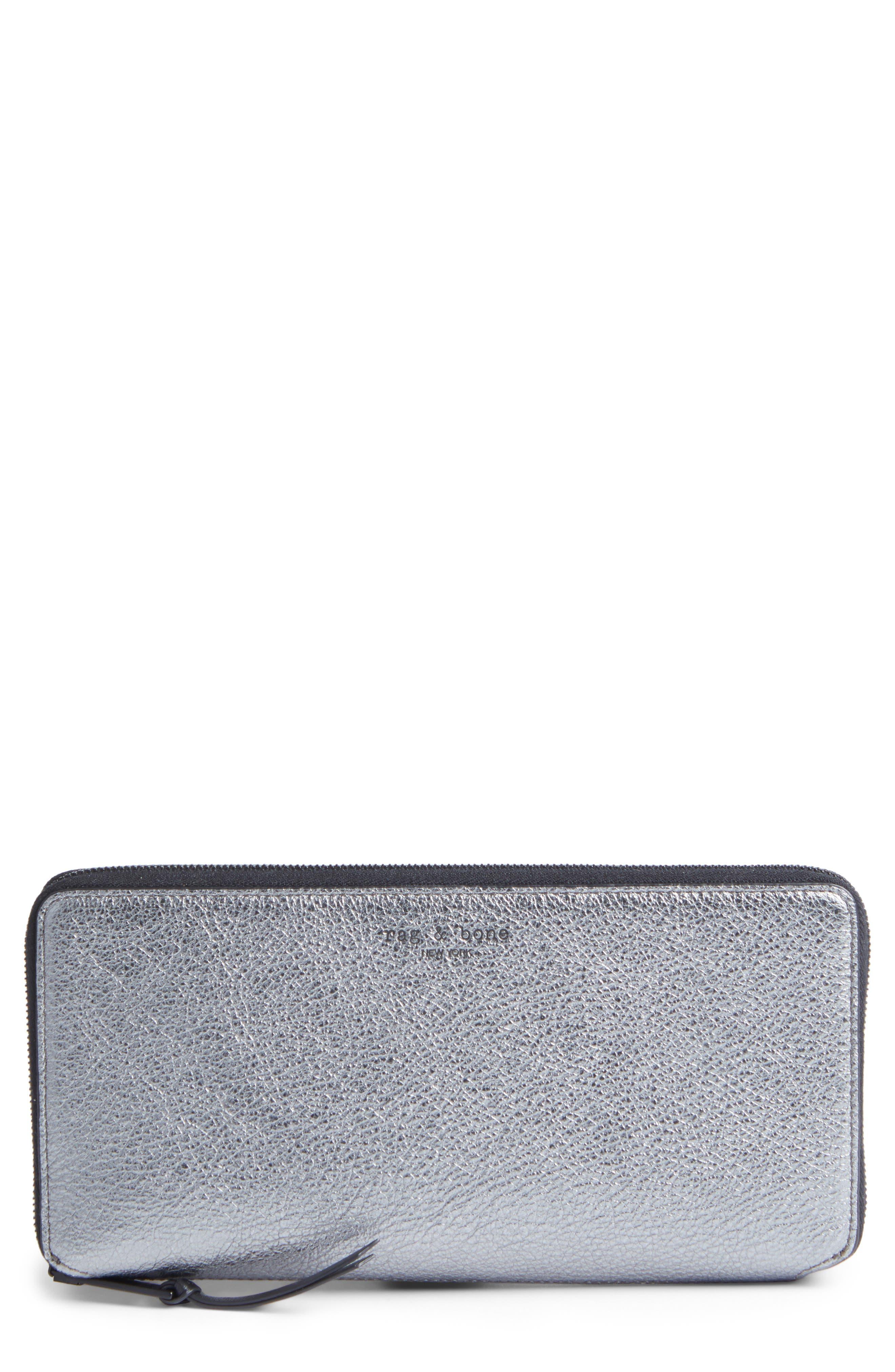 Metallic Leather Zip-Around Wallet,                         Main,                         color, Gunmetal