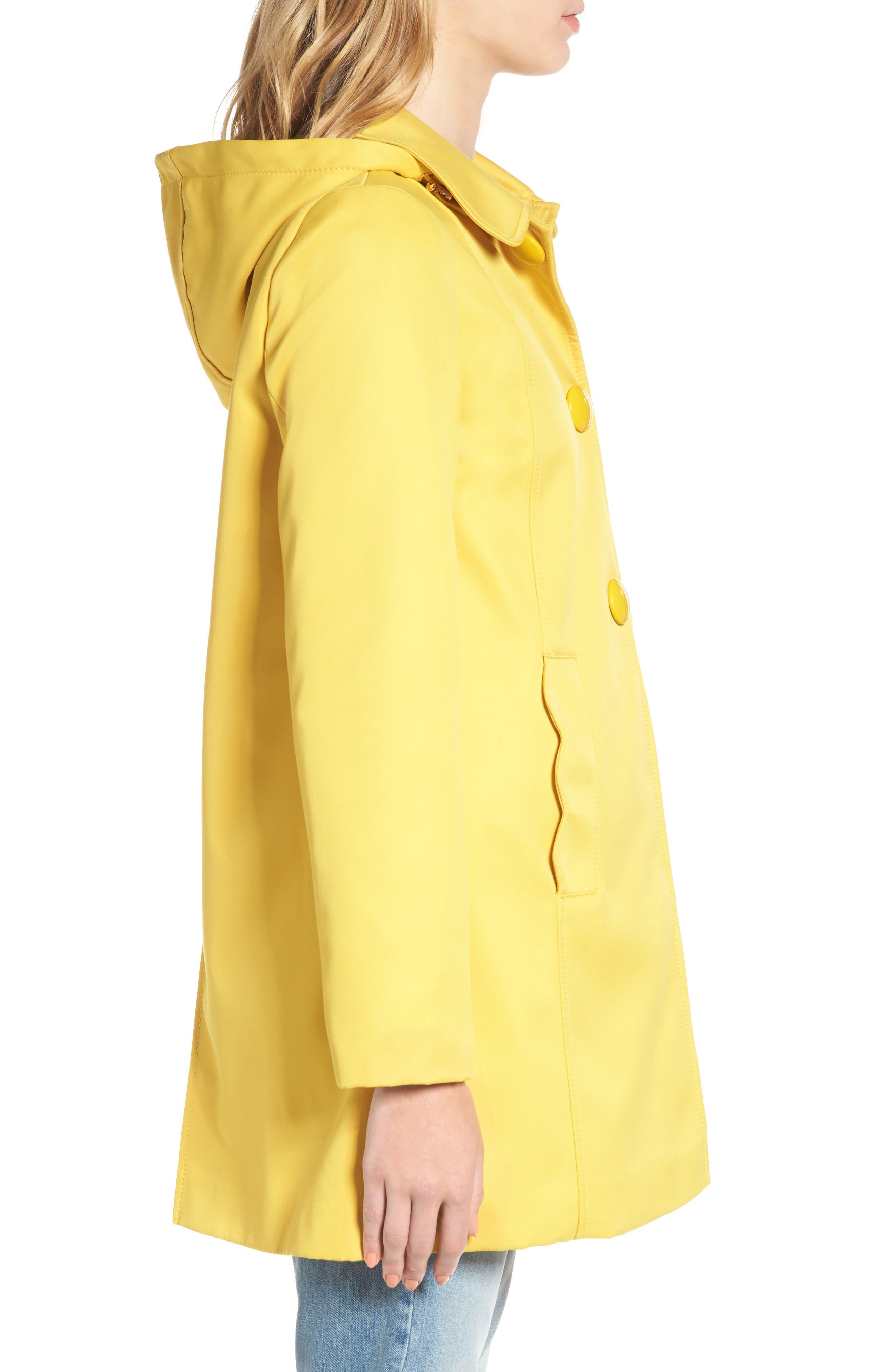 scallop edge raincoat,                             Alternate thumbnail 3, color,                             Citrine