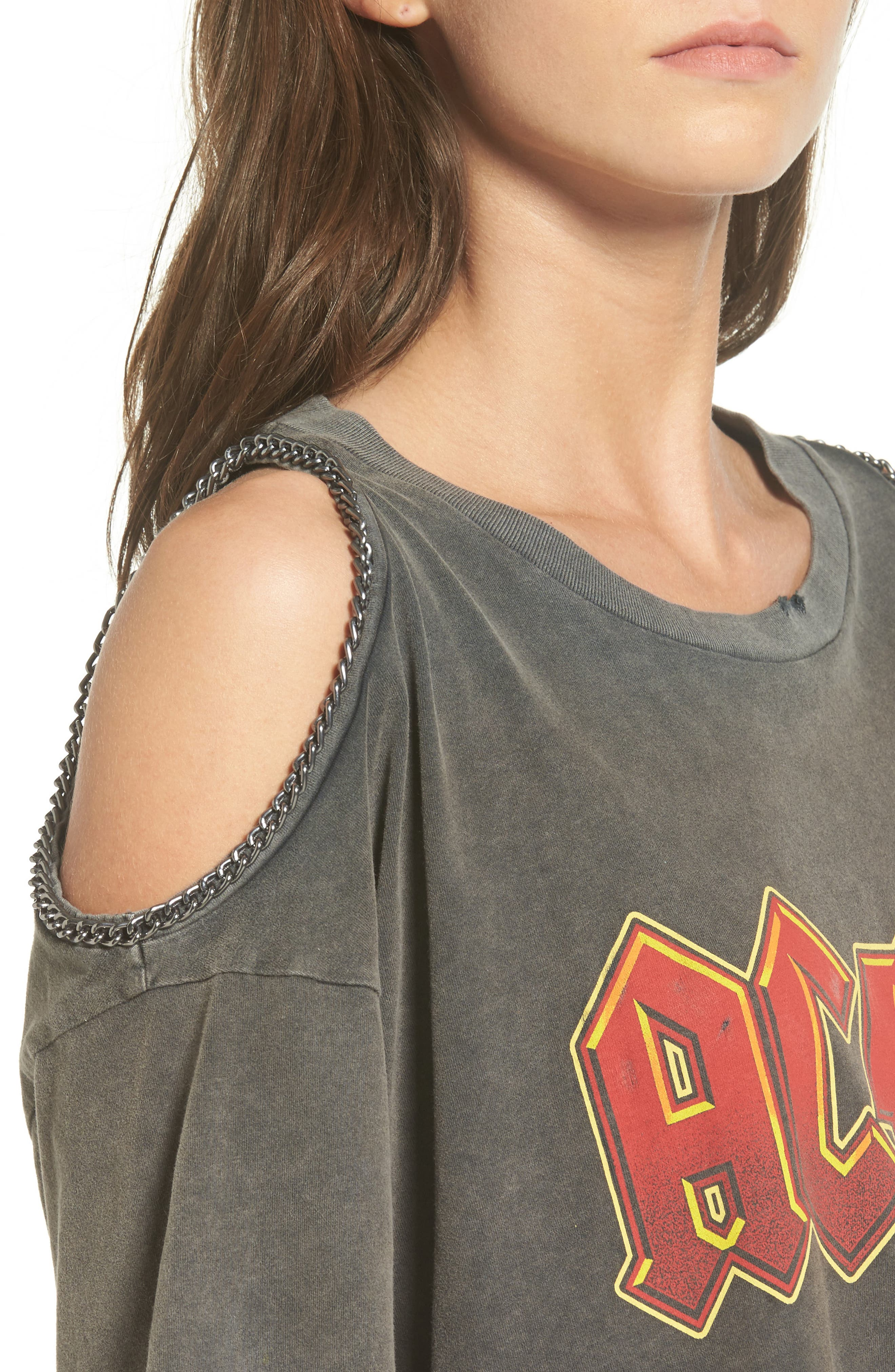 Alternate Image 5  - Topshop AC/DC Graphic Cold Shoulder Tee