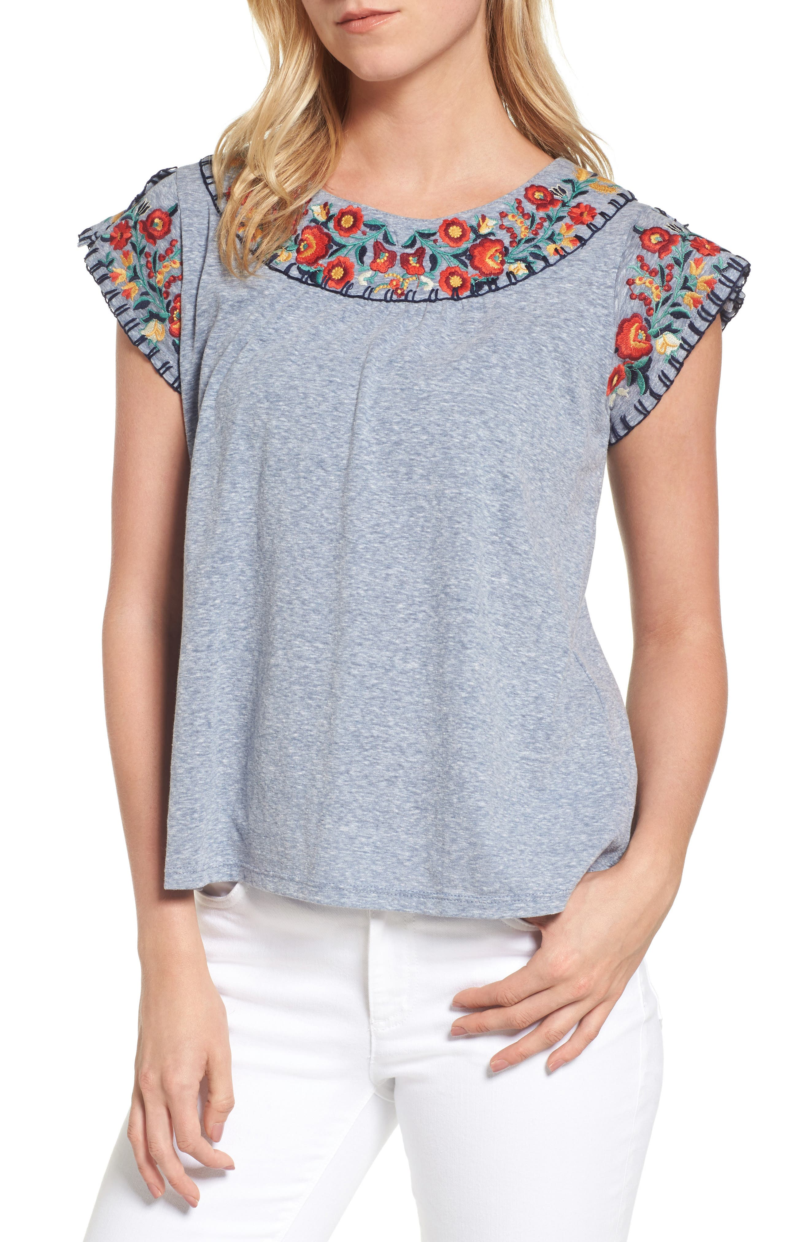 THML Split Sleeve Embroidered Top