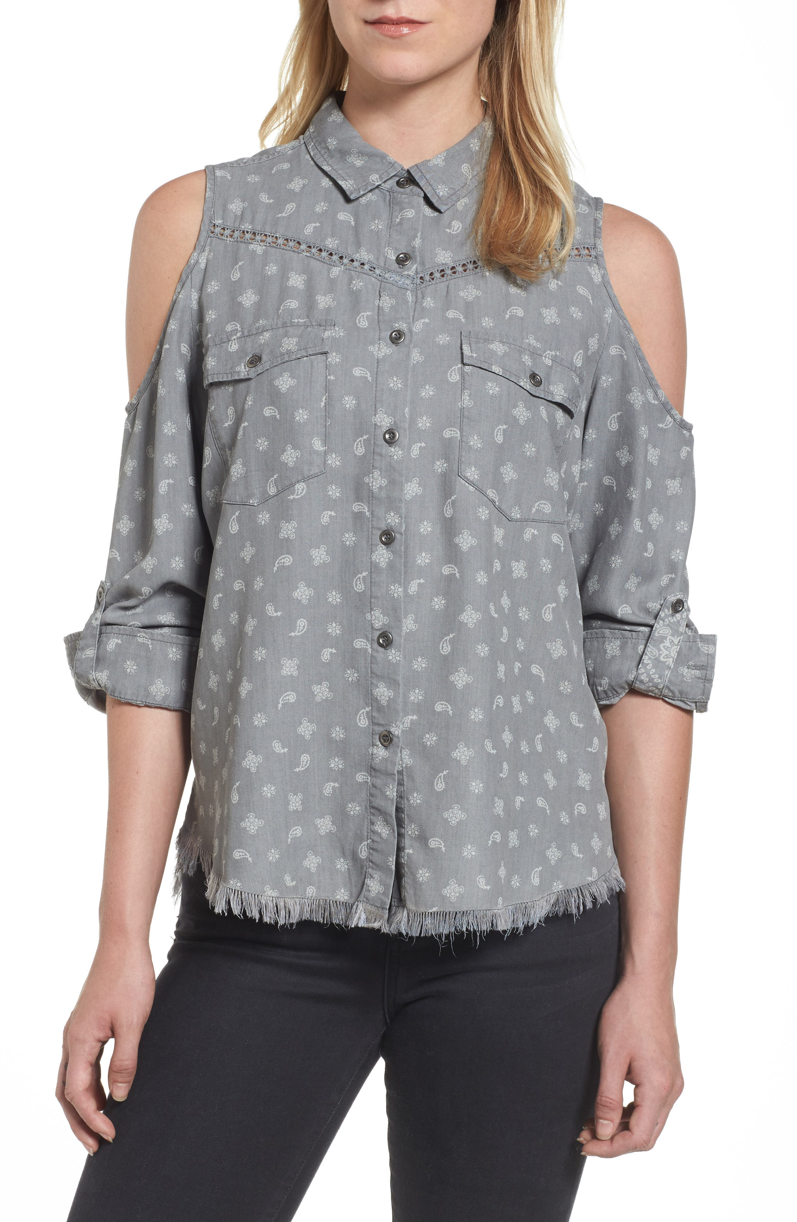 Cold Shoulder Paisley Shirt,                         Main,                         color, Grey Handkerchief