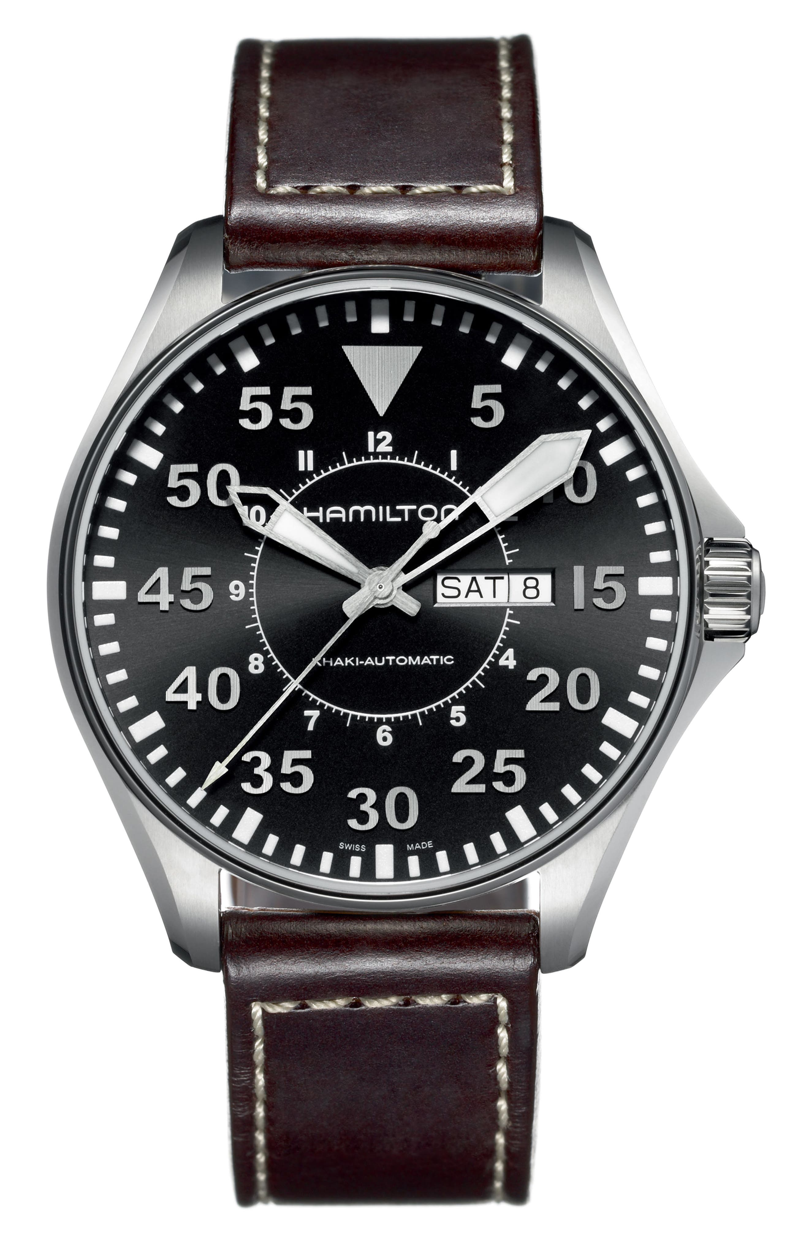 Main Image - Hamilton Khaki Aviation Automatic Leather Strap Watch, 46mm