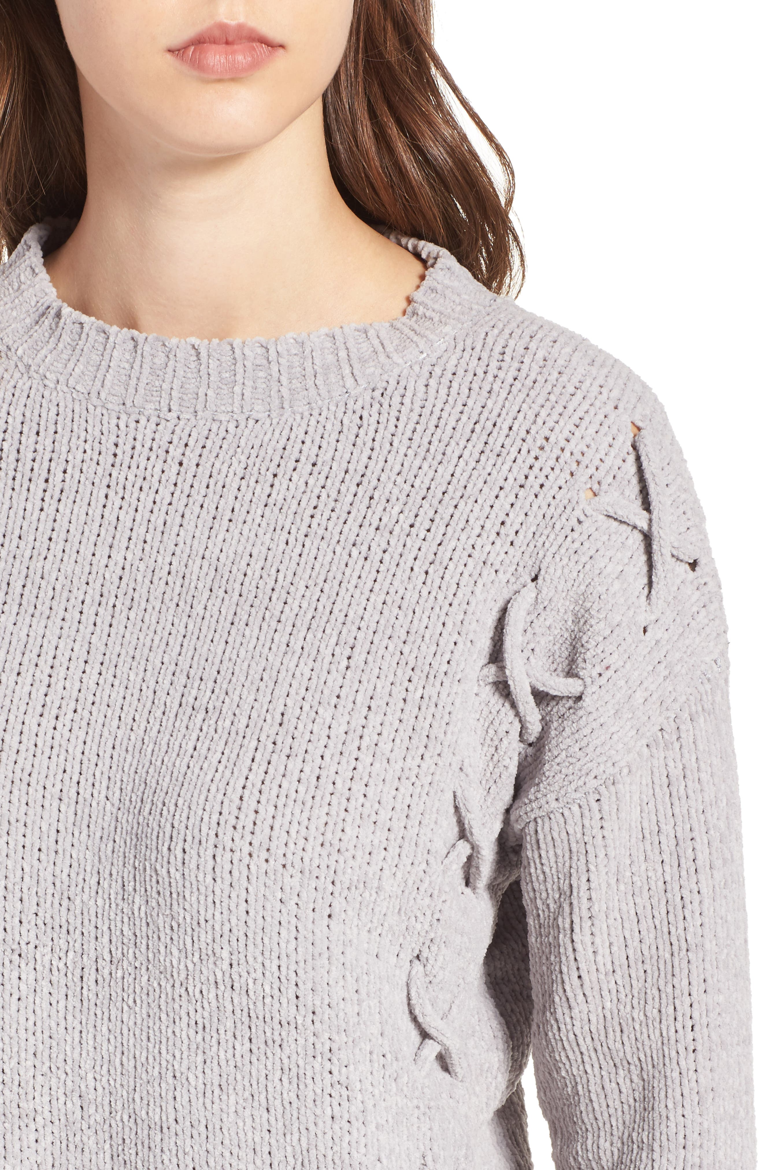 Alternate Image 4  - Woven Heart Lace-Up Chenille Pullover