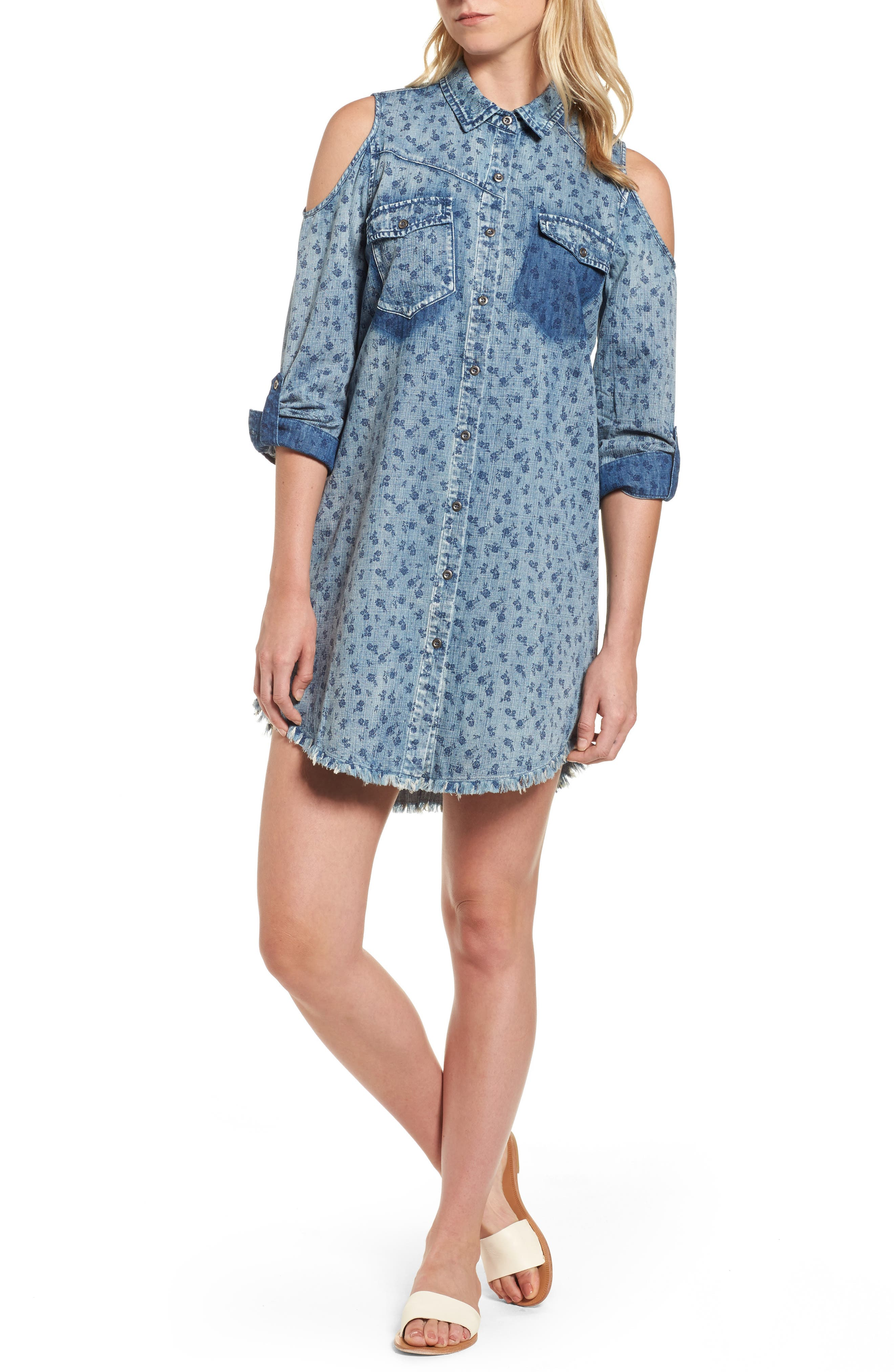 BILLY T Cold Shoulder Floral Chamray Shirtdress