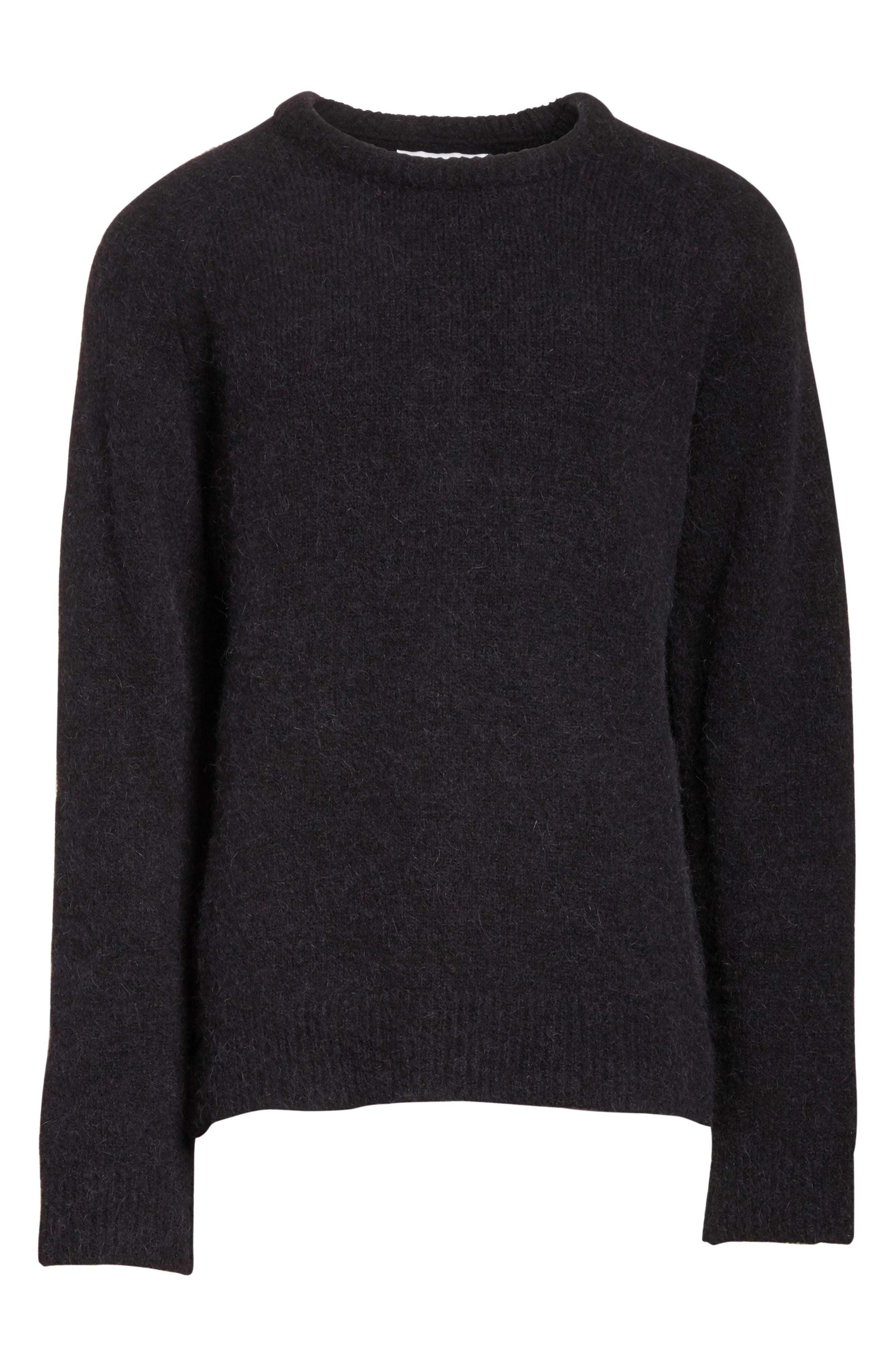 Wool Blend Crewneck Sweater,                             Alternate thumbnail 6, color,                             Black