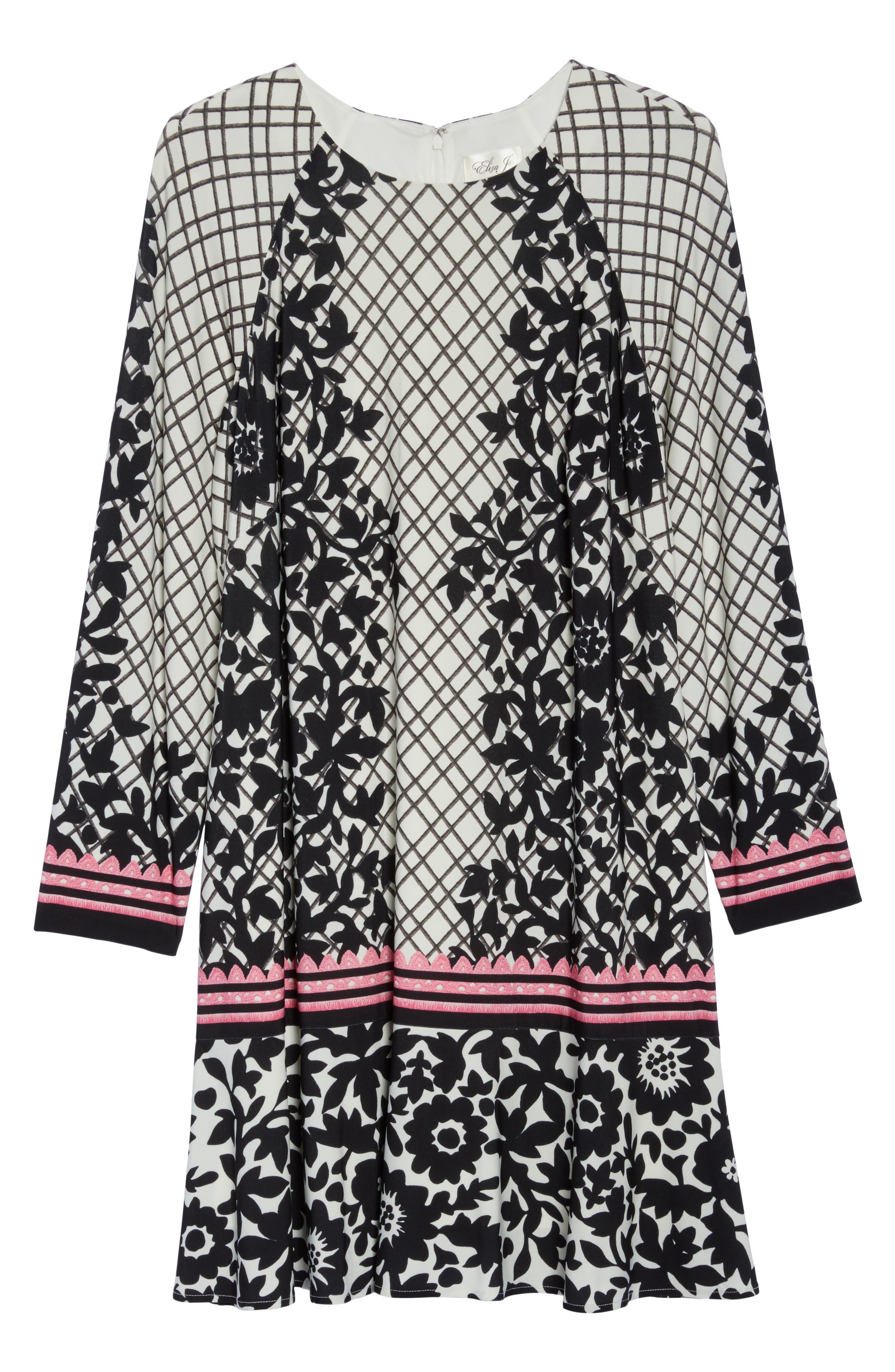 Lace Trim Shift Dress,                             Alternate thumbnail 7, color,                             Black/ Pink