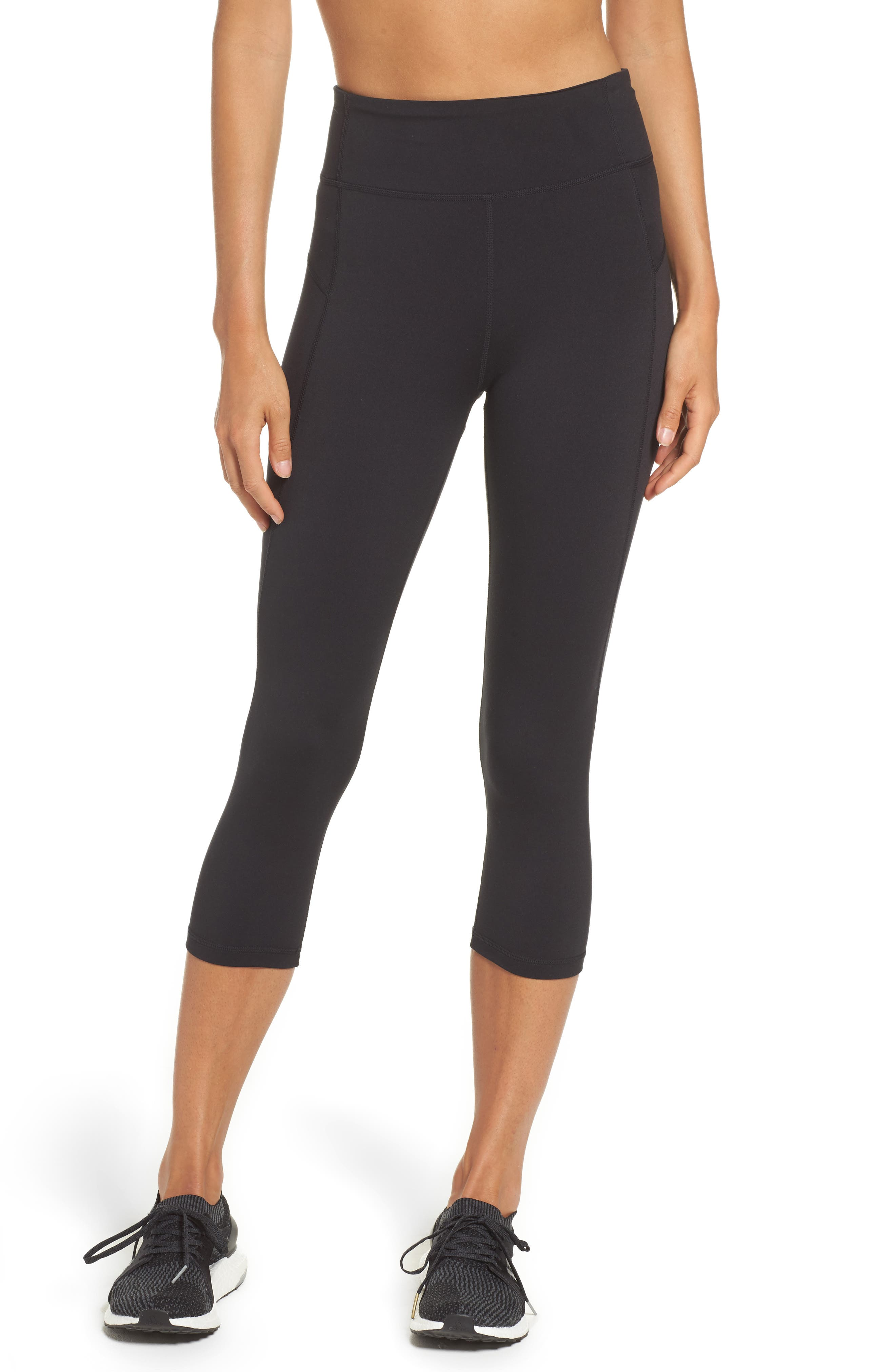 Perfomer Climalite<sup>®</sup> High Rise Capri Leggings,                         Main,                         color, Black/ Black