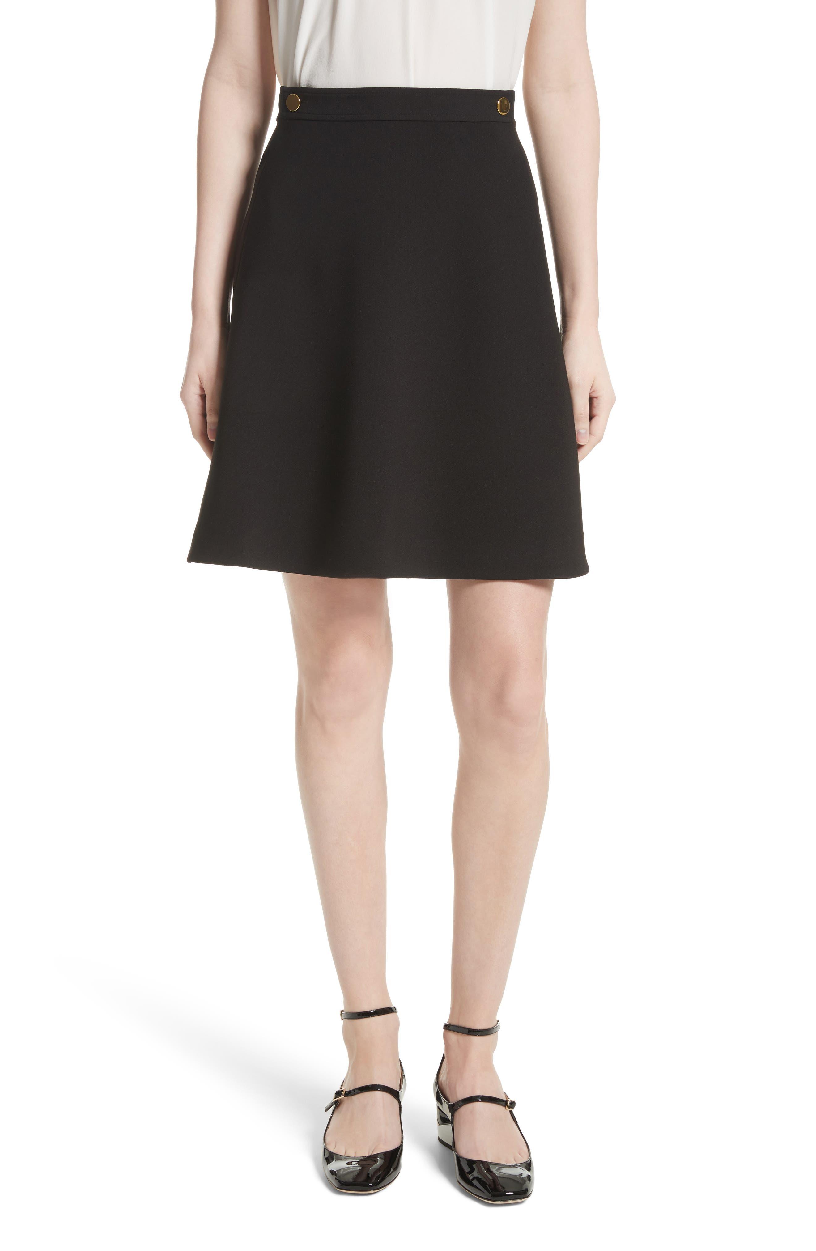 crepe military skirt,                         Main,                         color, Black