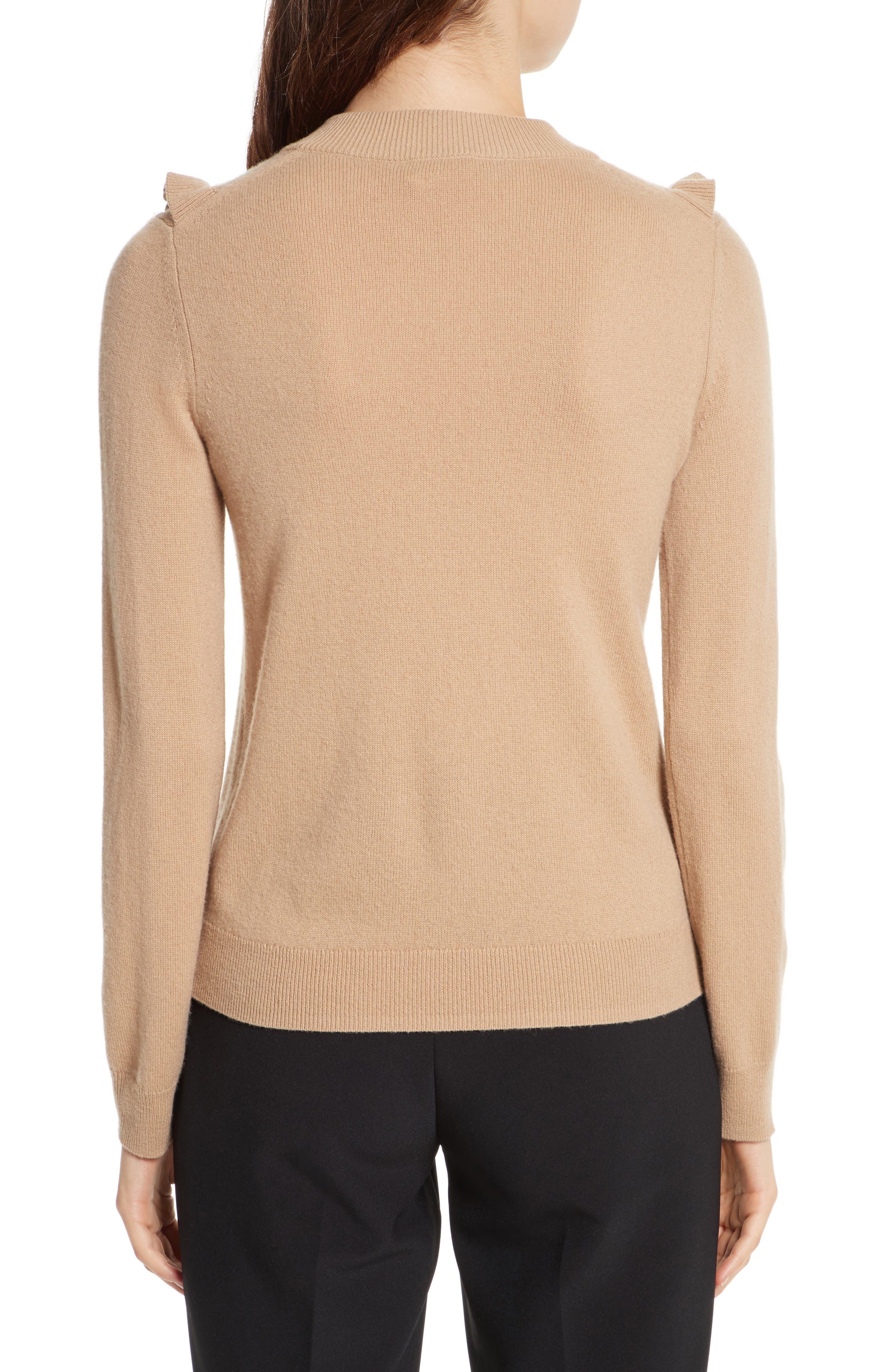 pompom wool & cashmere sweater,                             Alternate thumbnail 2, color,                             Adalia Camel