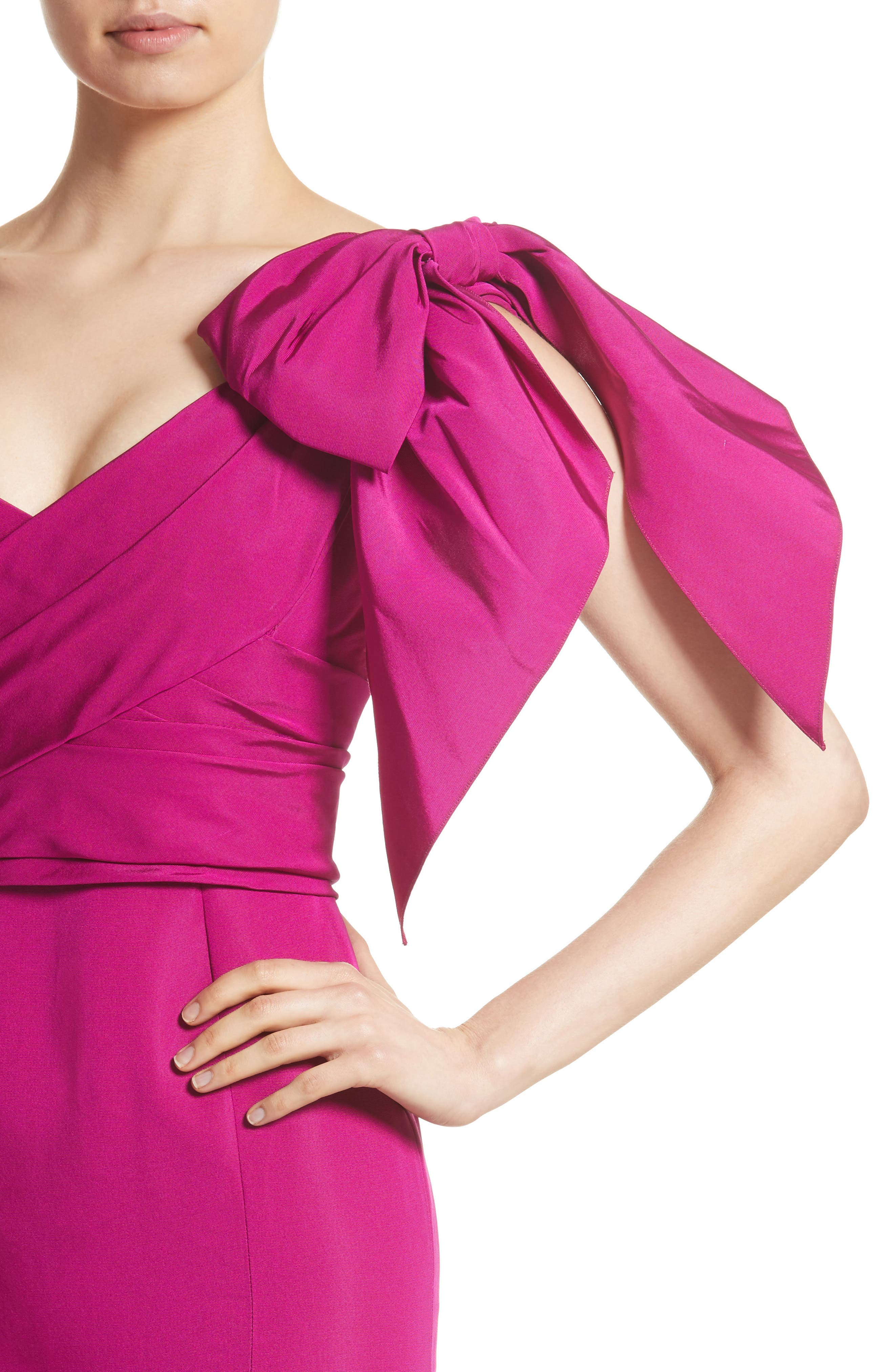 Bow Detail Faille Mermaid Gown,                             Alternate thumbnail 4, color,                             Fuchsia