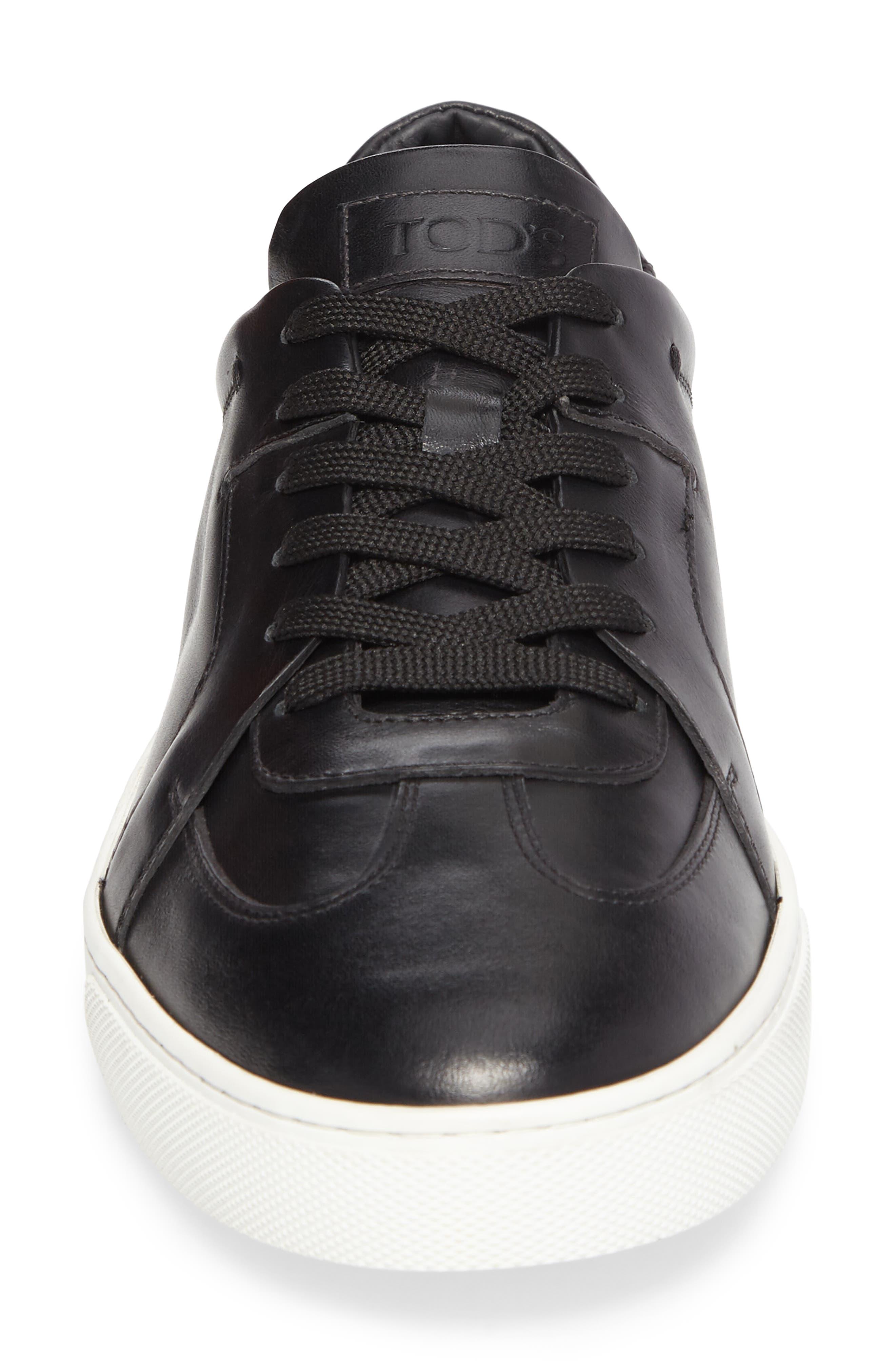 Cassetta Leather Sneaker,                             Alternate thumbnail 4, color,                             Black Leather