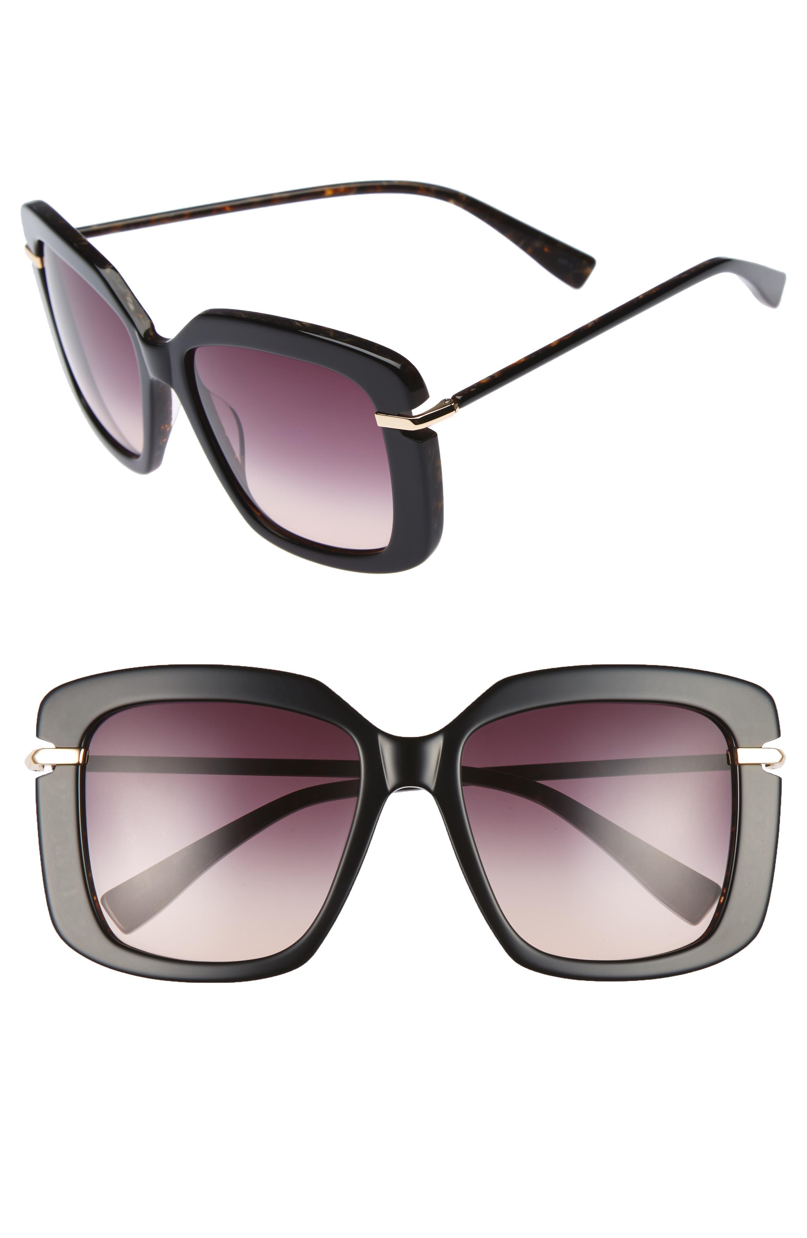 Anita 55mm Square Sunglasses,                             Main thumbnail 1, color,                             Black Brown