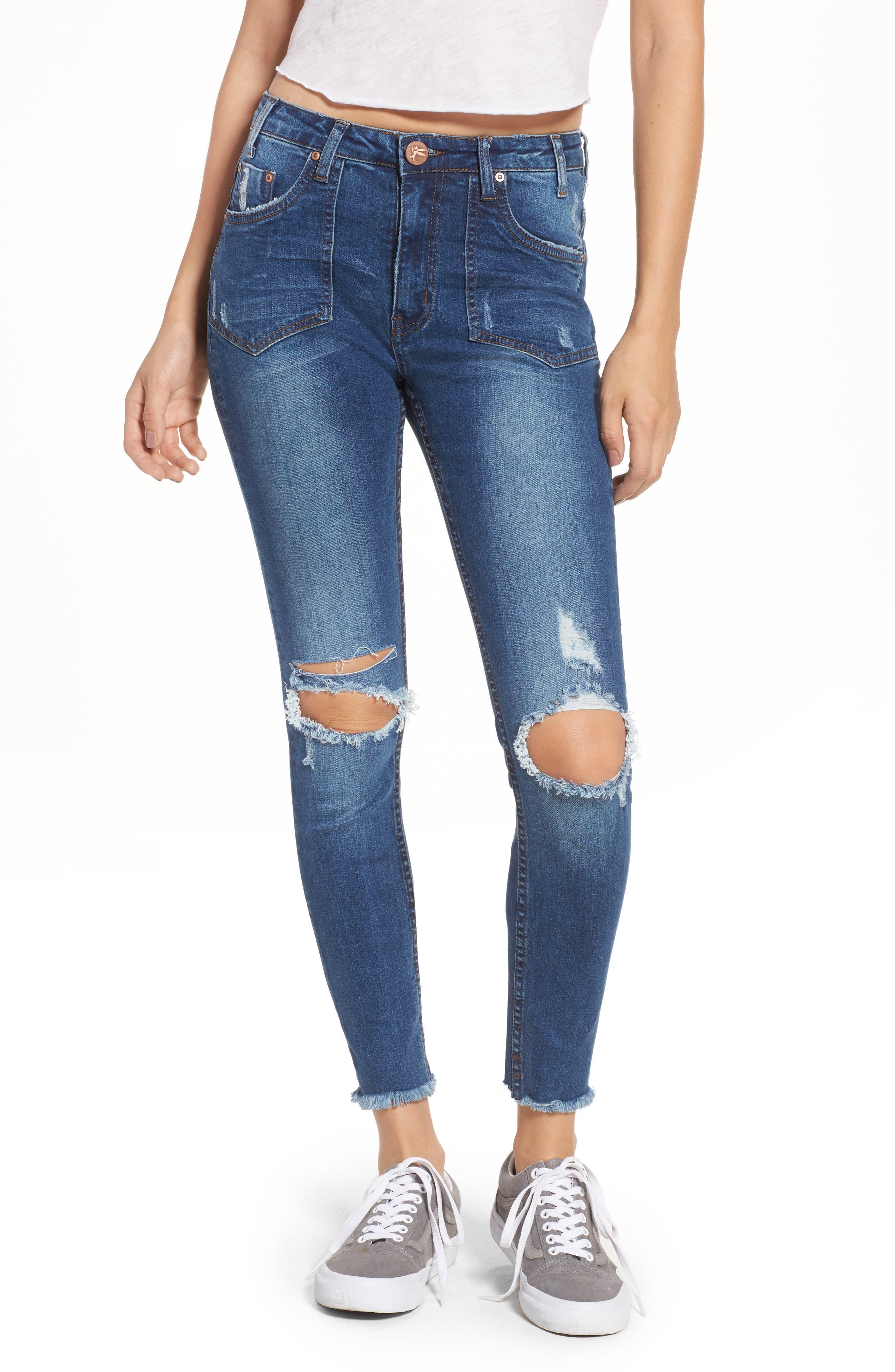 One Teaspoon Freebirds II Ripped High Waist Jeans (Bonnie Blue)