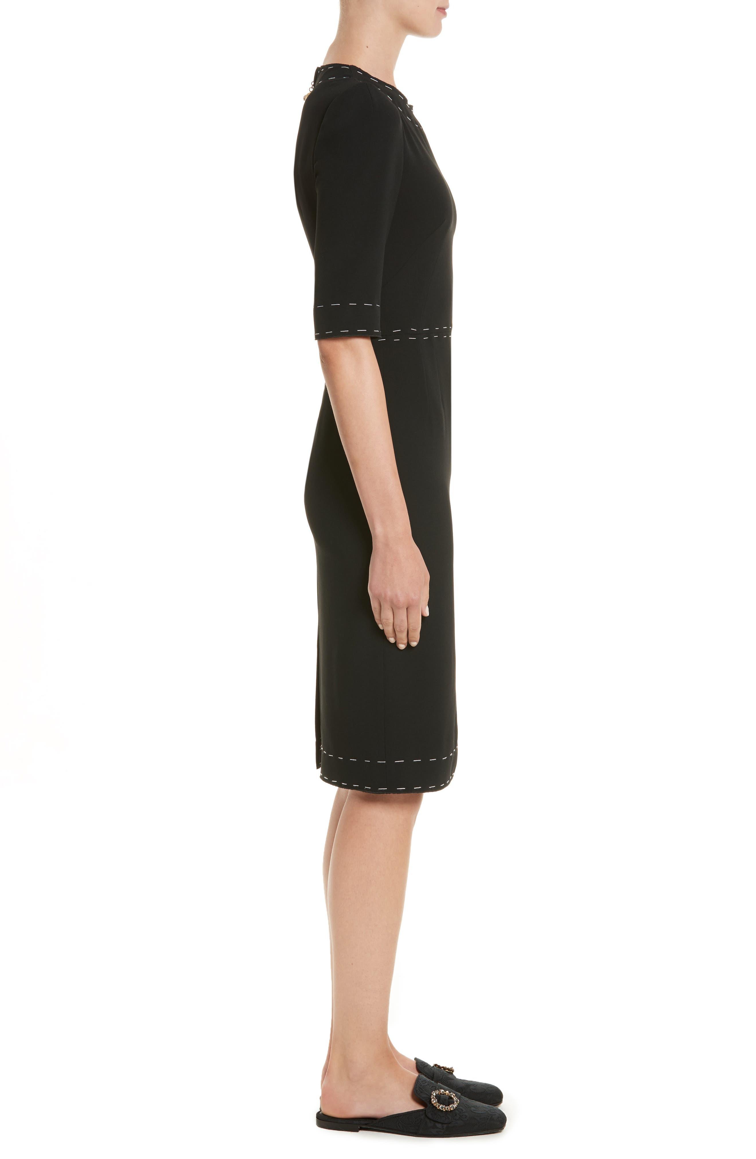 Stretch Cady Sheath Dress,                             Alternate thumbnail 3, color,                             Nero