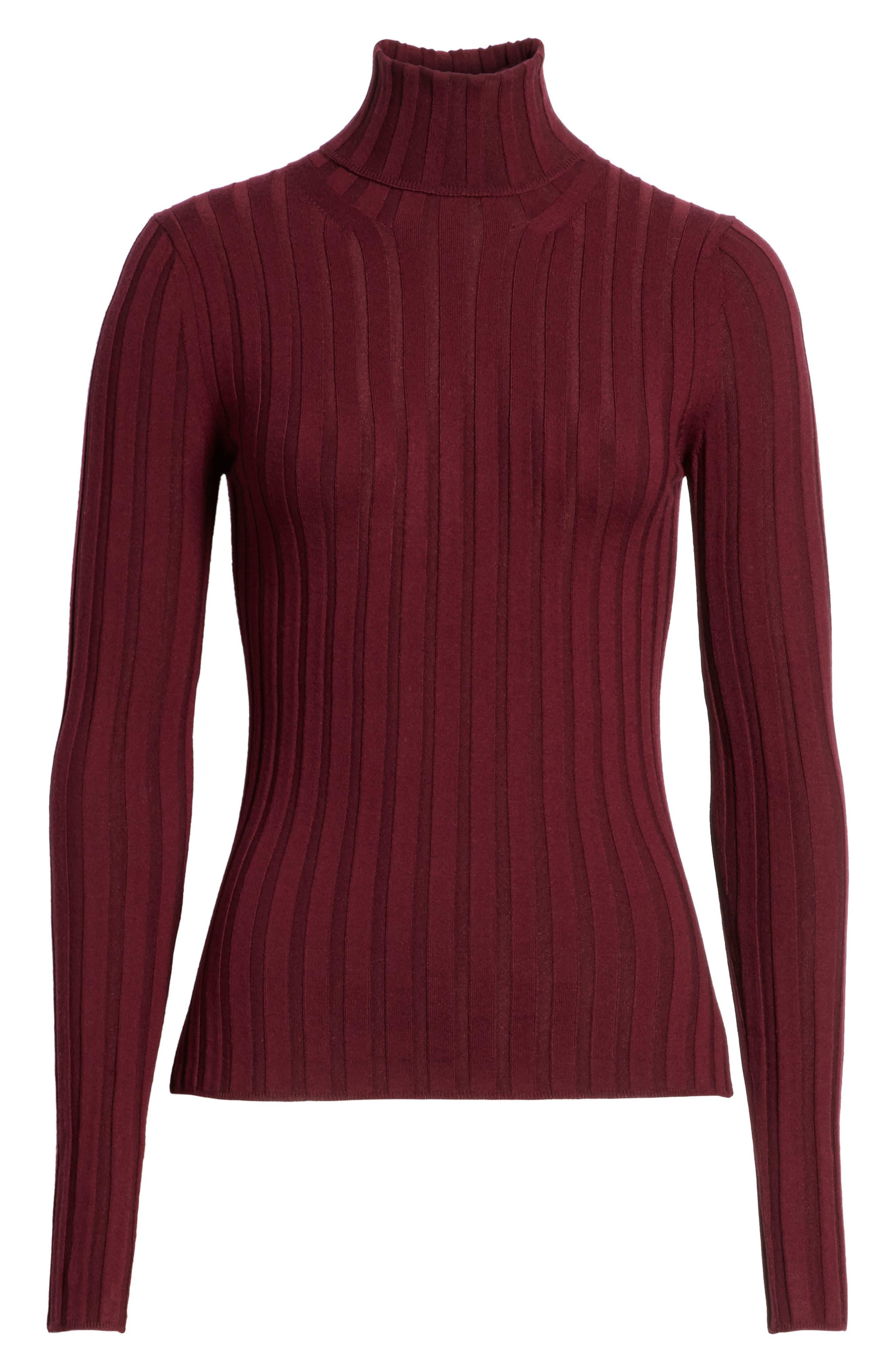 Corina Fitted Turtleneck Sweater,                             Alternate thumbnail 6, color,                             Burgundy