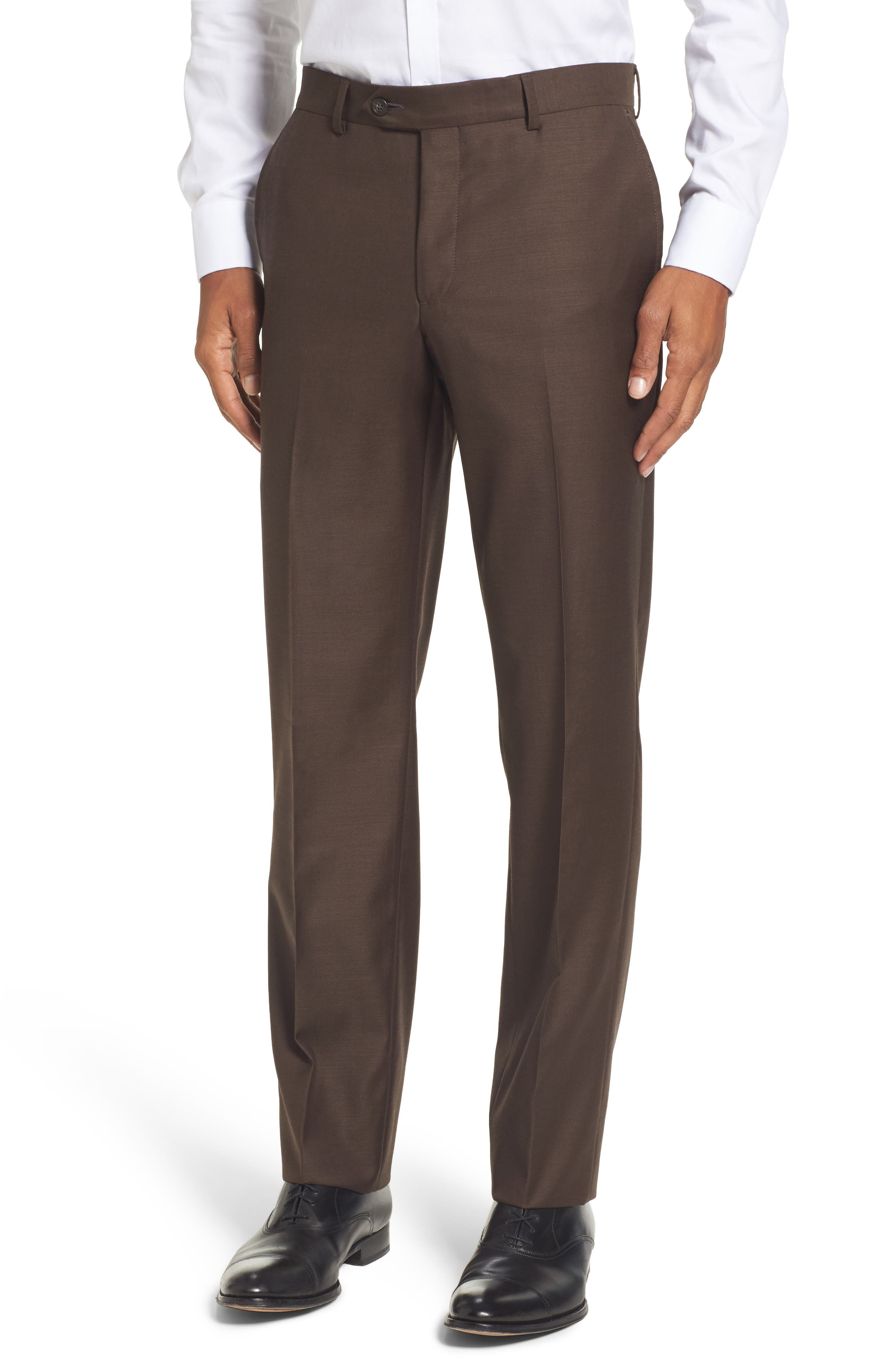 Flat Front Solid Wool Trousers,                         Main,                         color, Brown