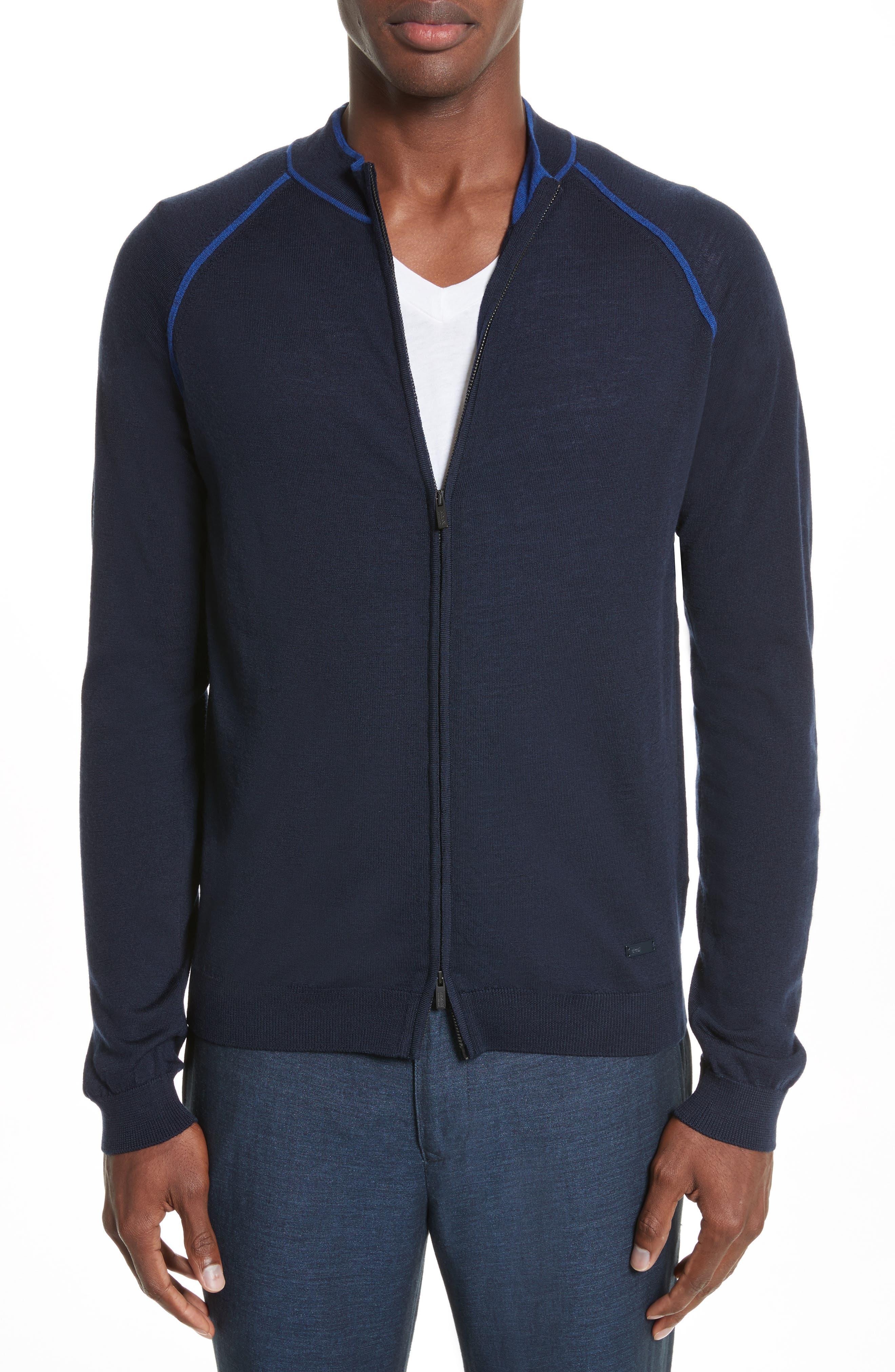 Alternate Image 1 Selected - Armani Collezioni Zip Front Raglan Sweatshirt