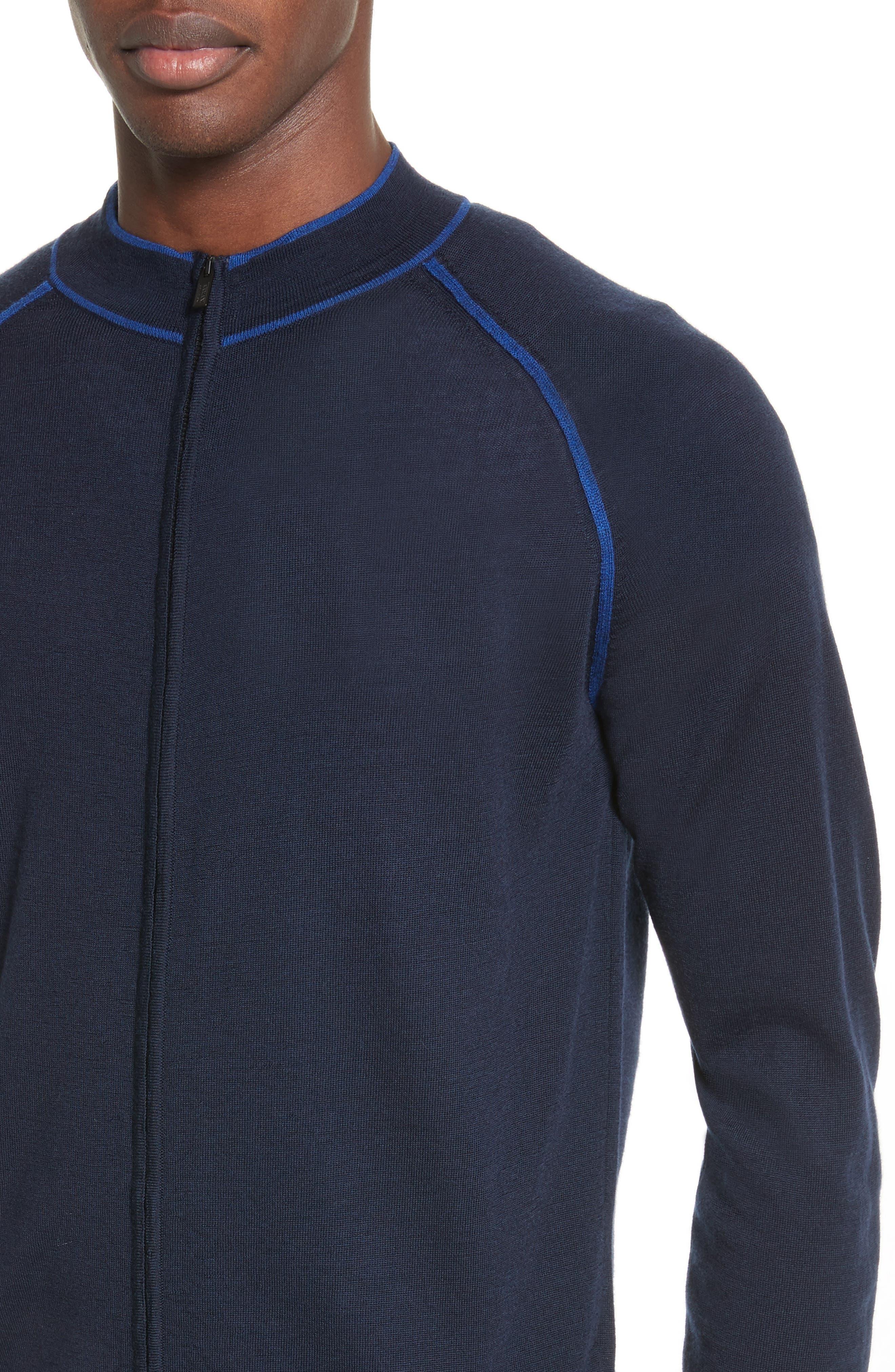 Alternate Image 4  - Armani Collezioni Zip Front Raglan Sweatshirt