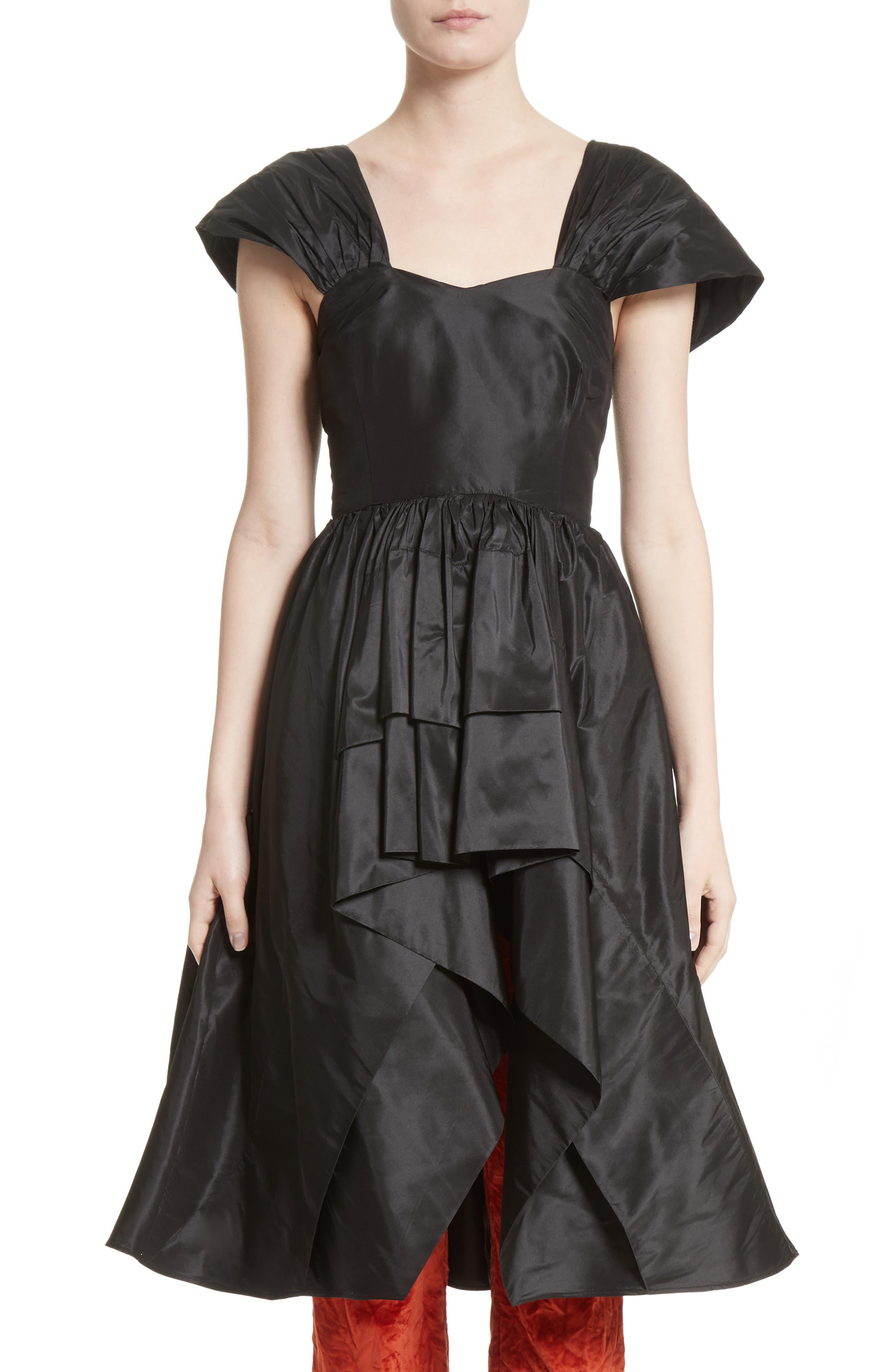 Ethereal High/Low Silk Taffeta Top,                         Main,                         color, Black