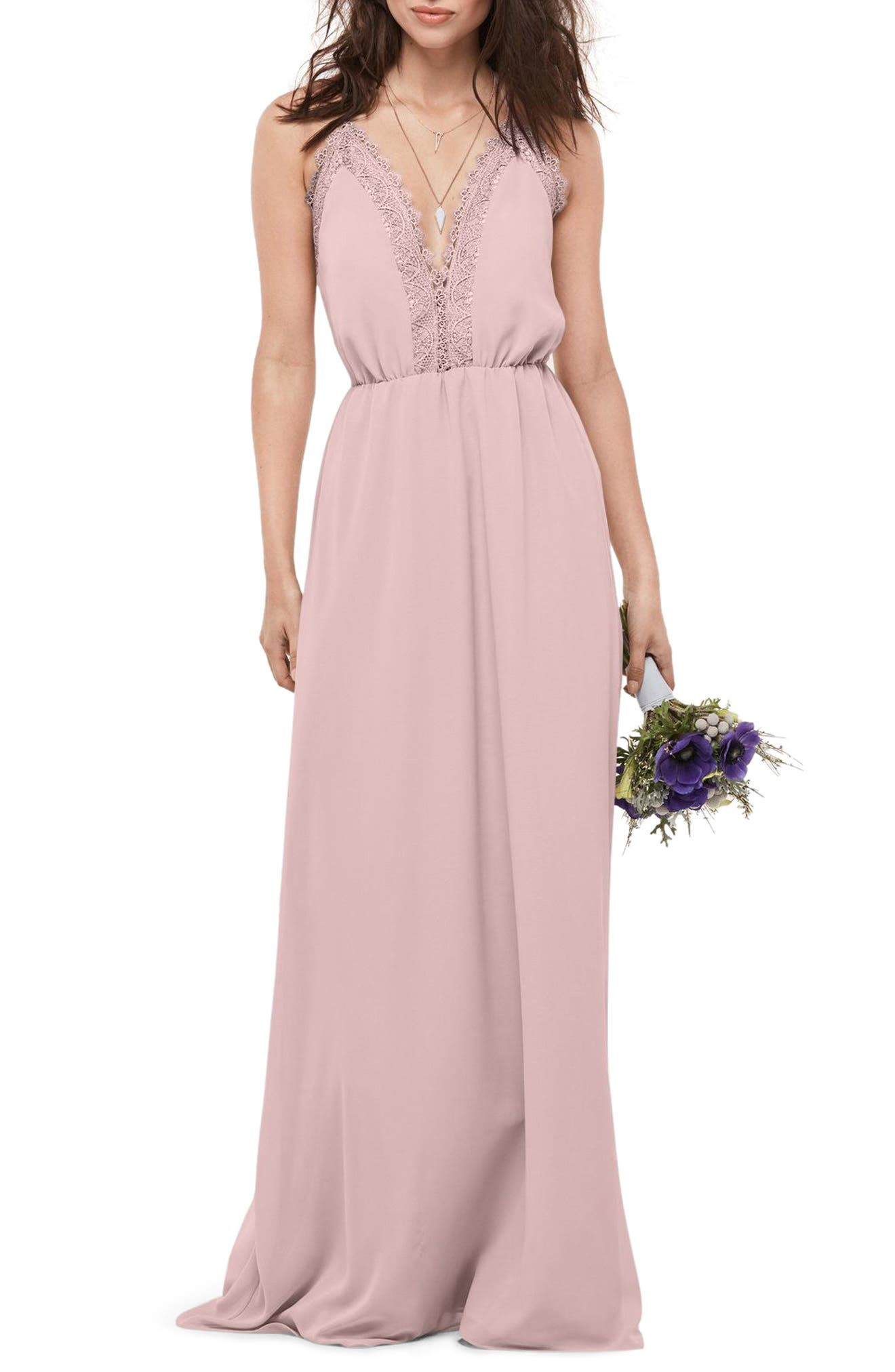 Main Image - WTOO Lace Trim Chiffon Halter Gown