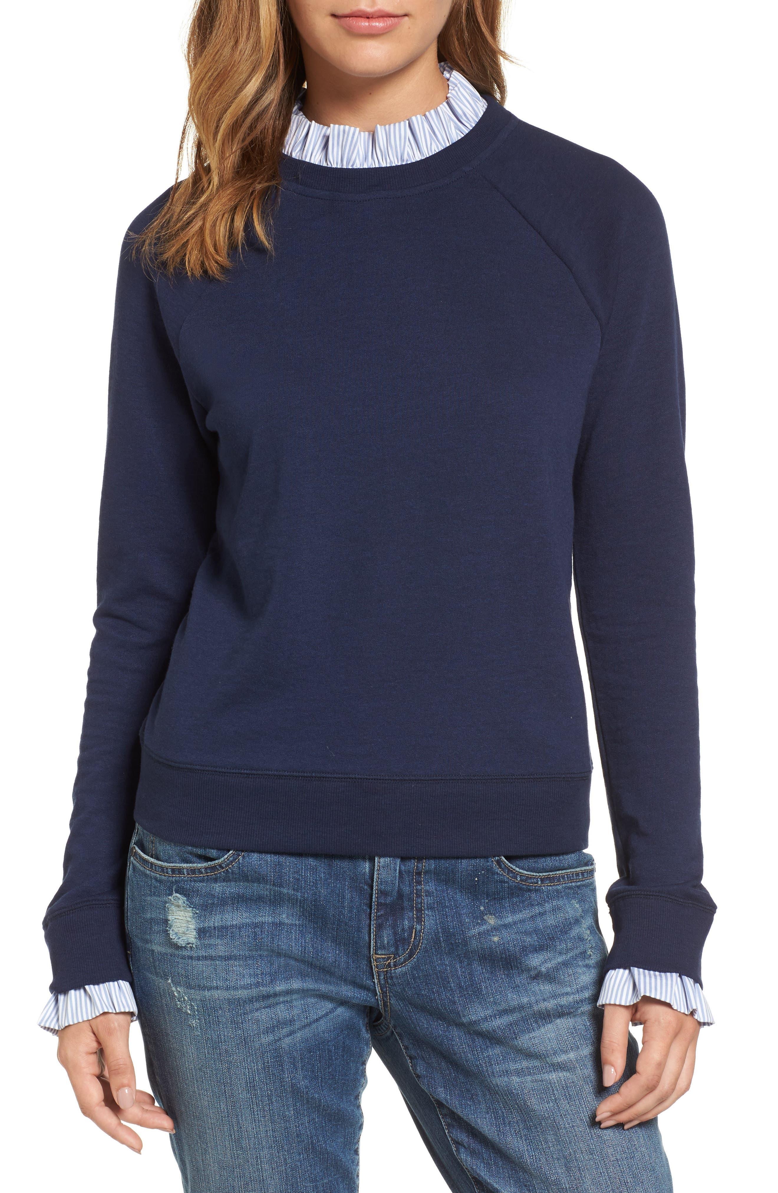 Halogen® Removable Collar Sweatshirt (Regular & Petite)