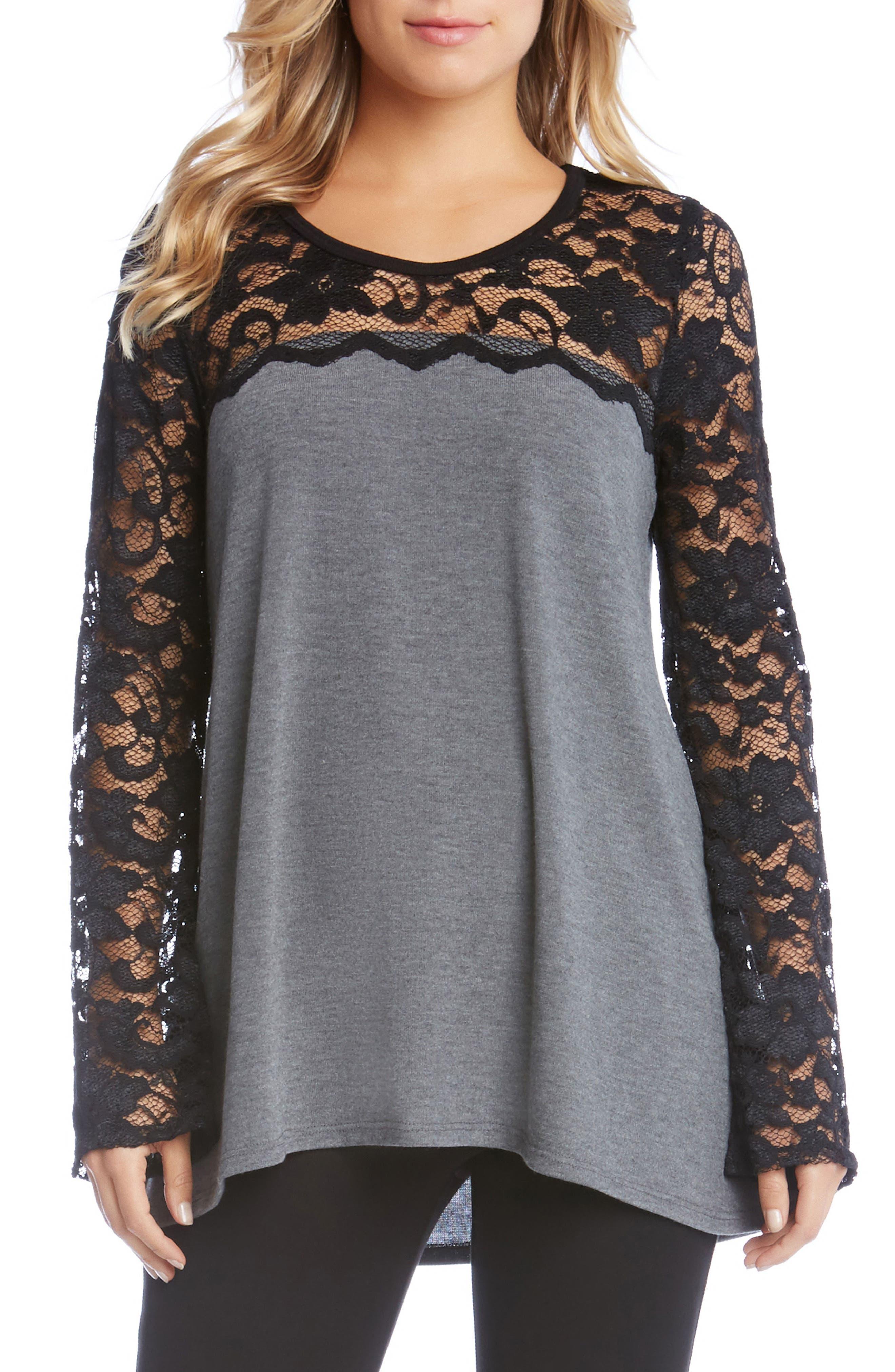 Karen Kane Lace Sleeve Sweater