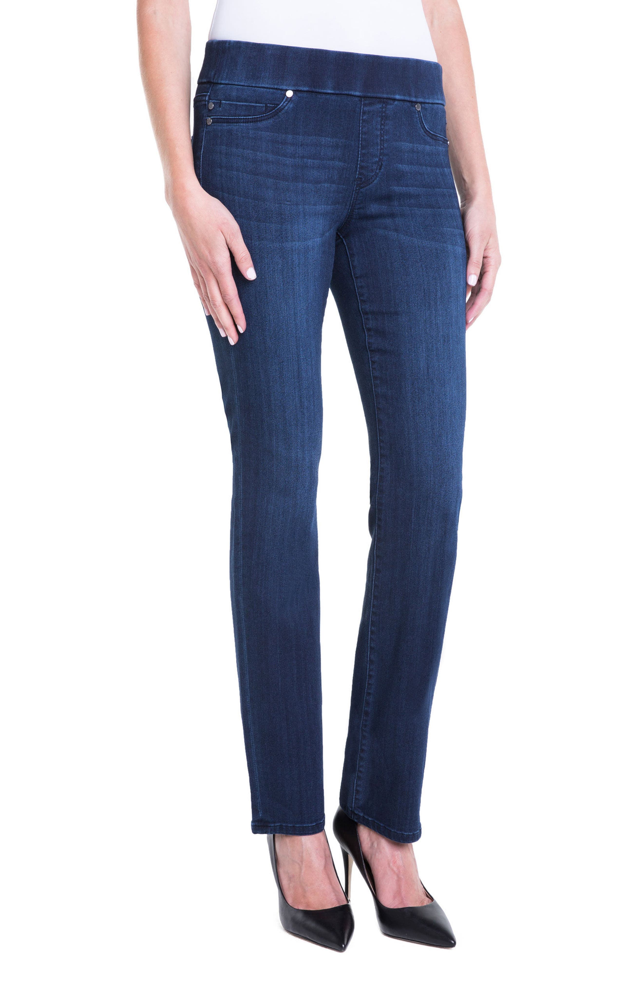 Jillian Pull-On Straight Leg Jeans,                             Alternate thumbnail 3, color,                             Estrella Med Dark