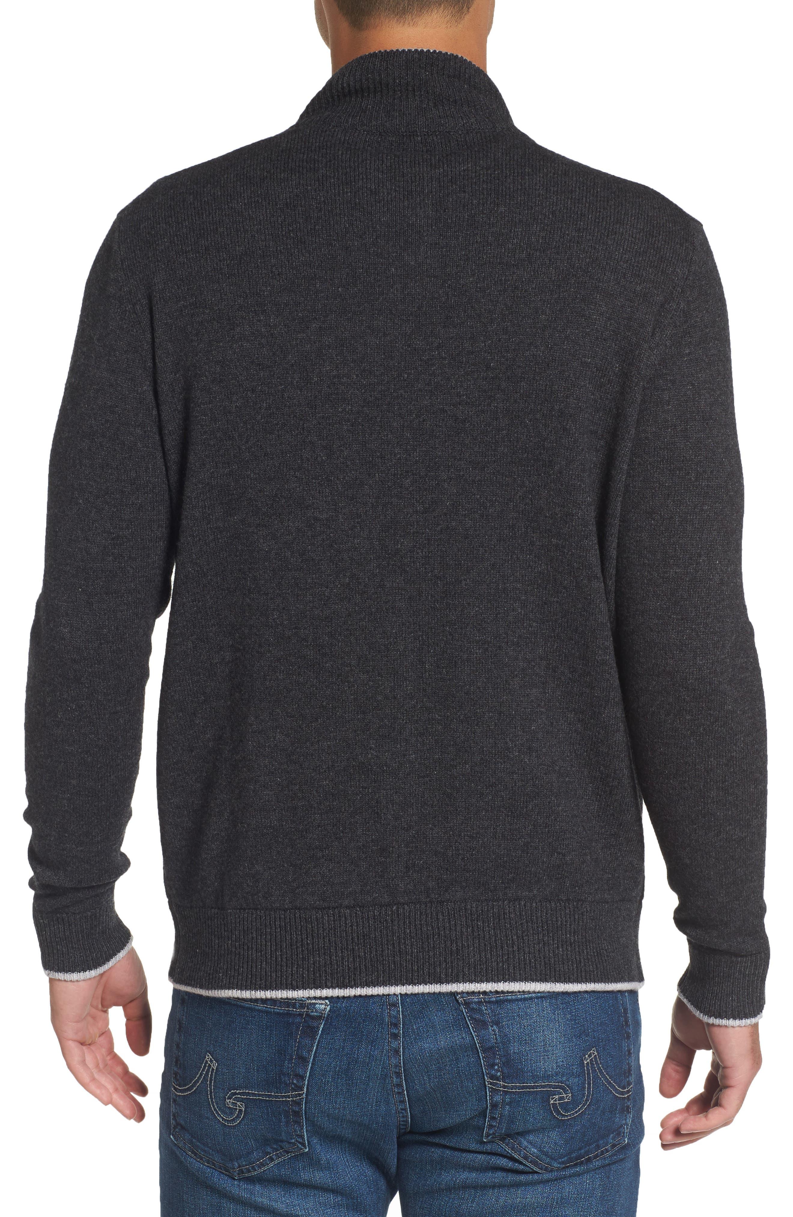 Wool Blend Quarter Zip Sweater,                             Alternate thumbnail 2, color,                             Dark Grey