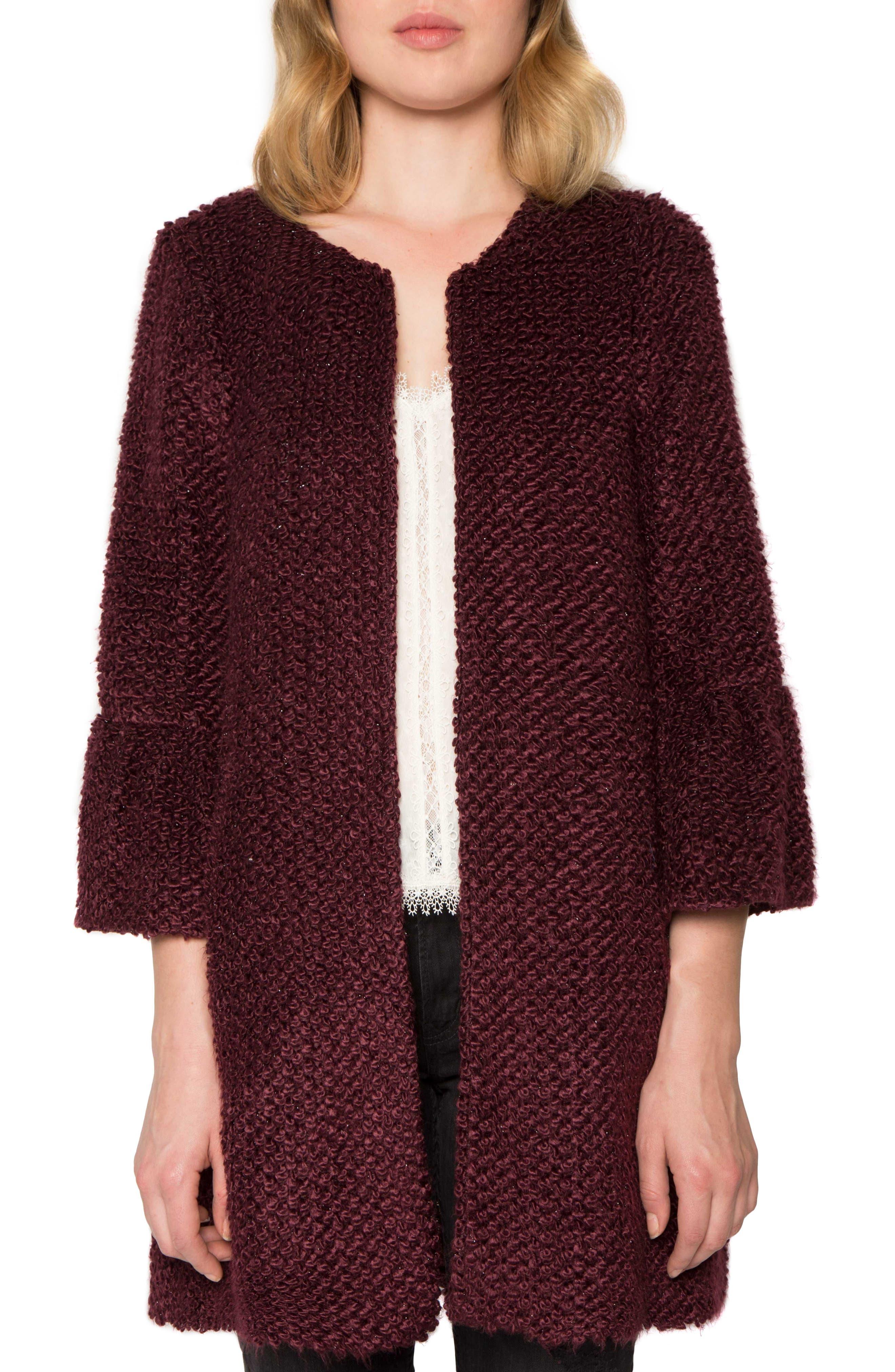 Bouclé Coat,                         Main,                         color, Berry