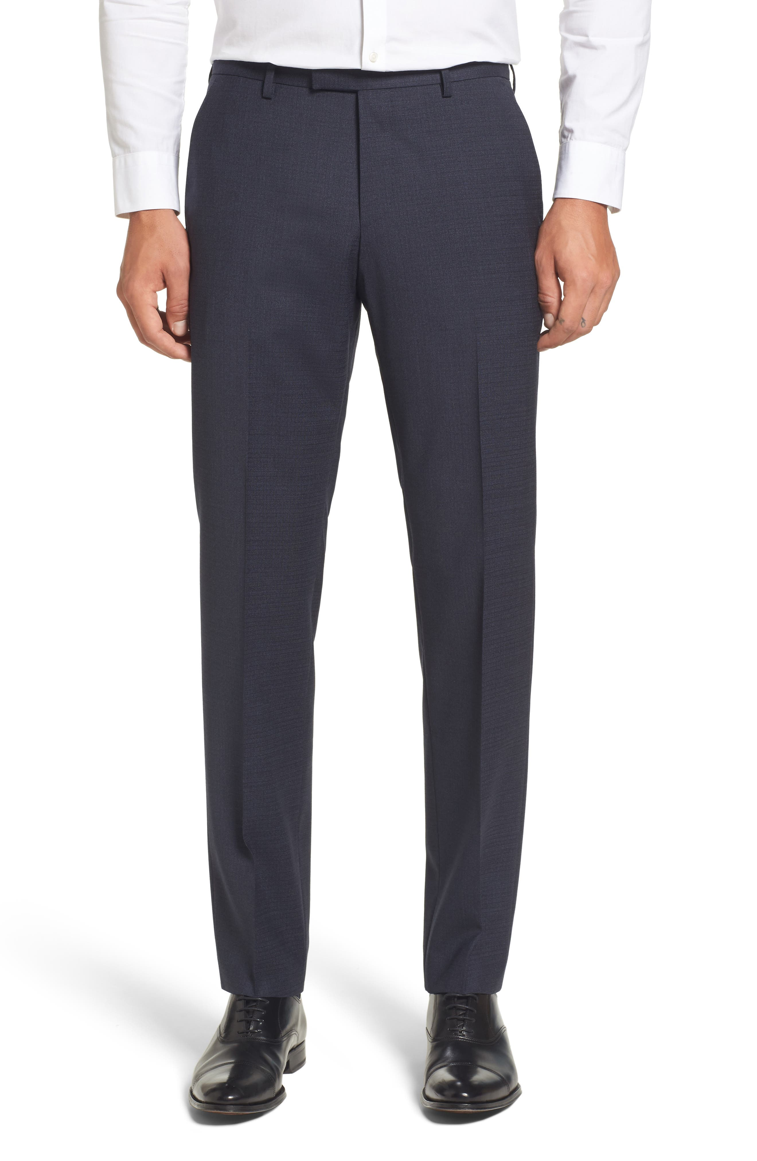 Leenon Classic Fit Plaid Stretch Wool Trousers,                         Main,                         color, Navy