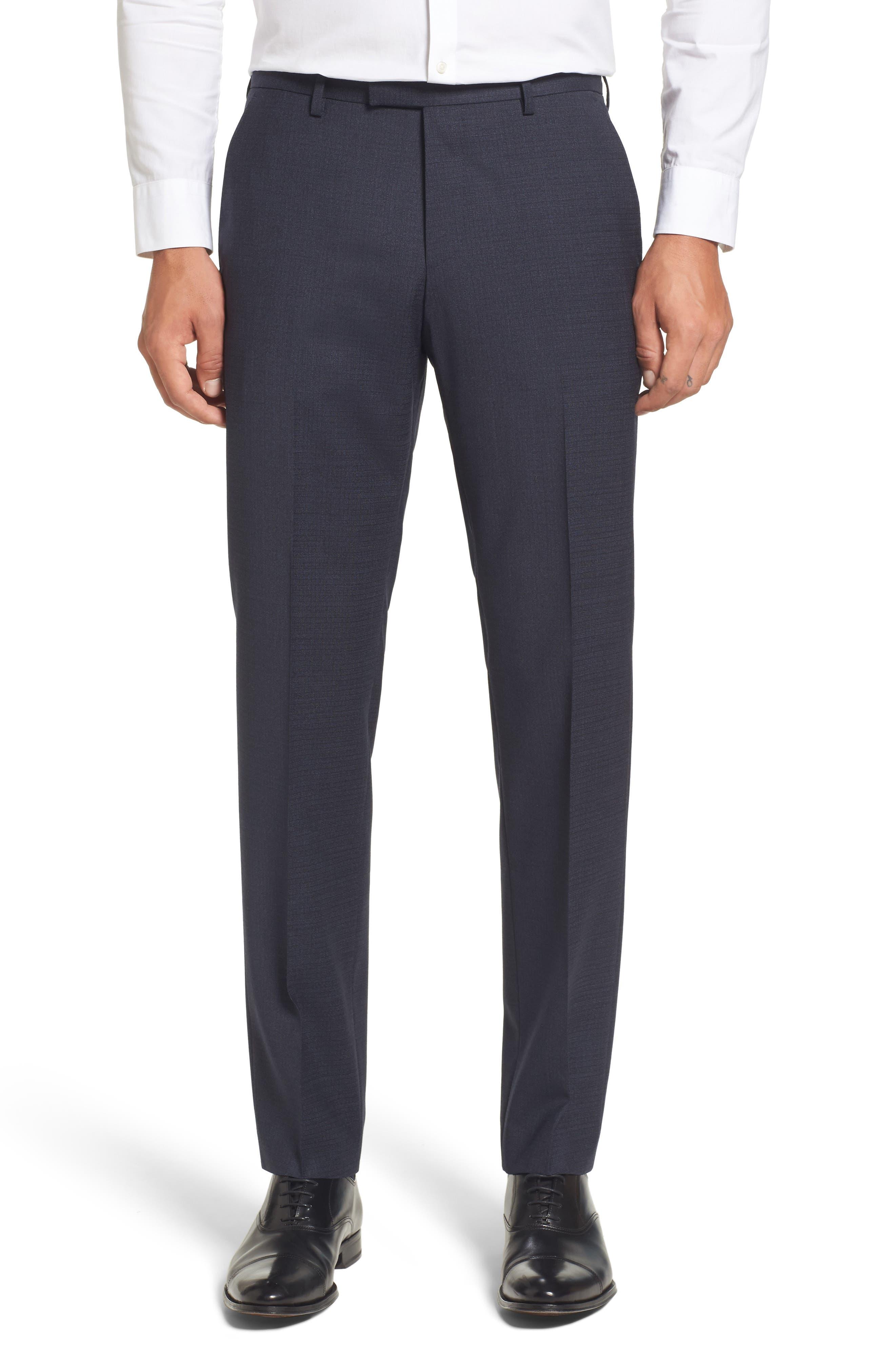 BOSS Leenon Classic Fit Plaid Stretch Wool Trousers