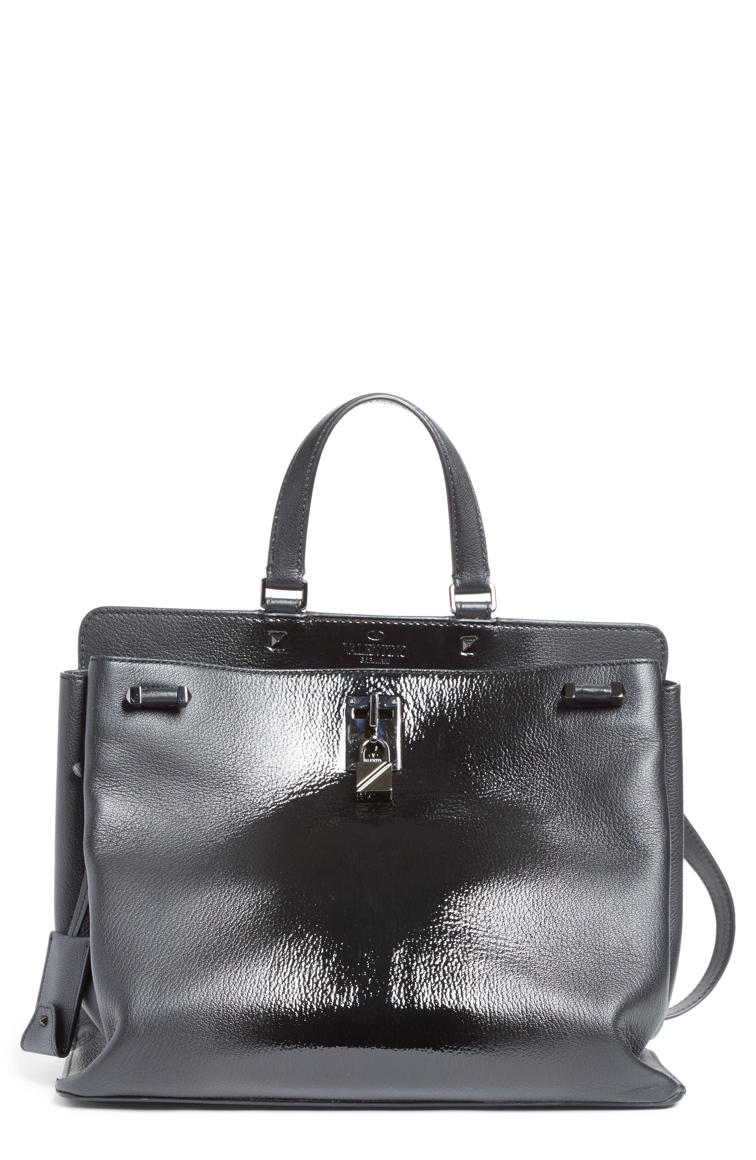 Large Pieper Leather Tote,                             Main thumbnail 1, color,                             Nero