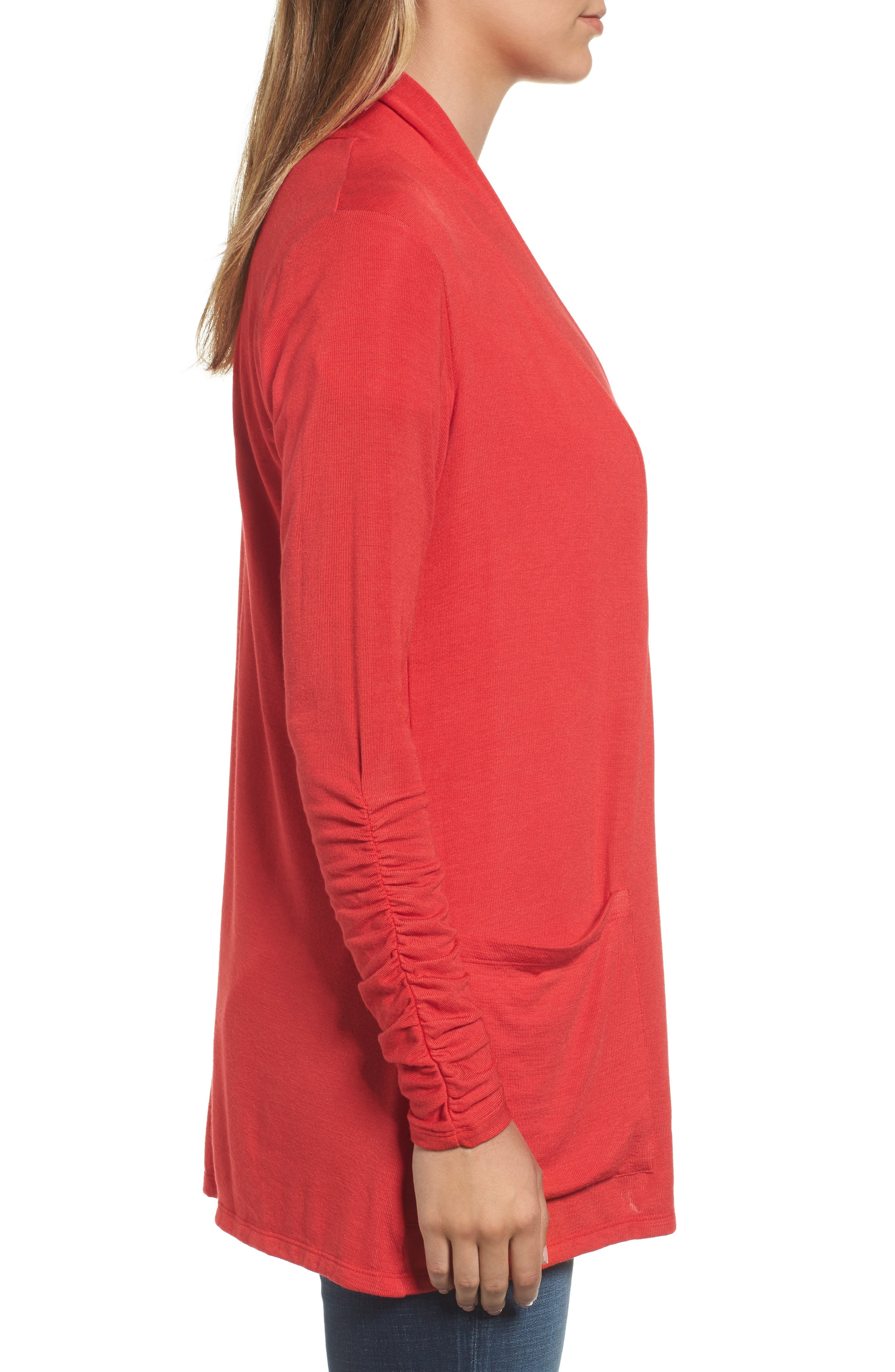 Ruched Sleeve Cardigan,                             Alternate thumbnail 3, color,                             Red Pepper